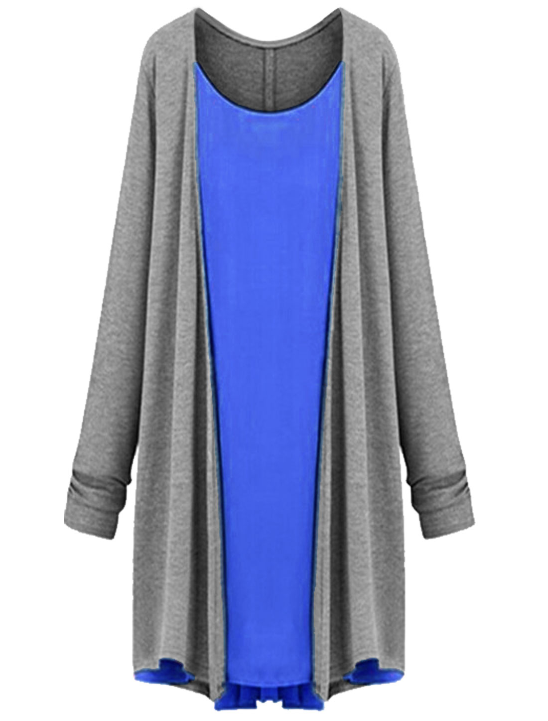 Long Sleeves Layered Shirts Casual Top for Women Royal Blue Gray M