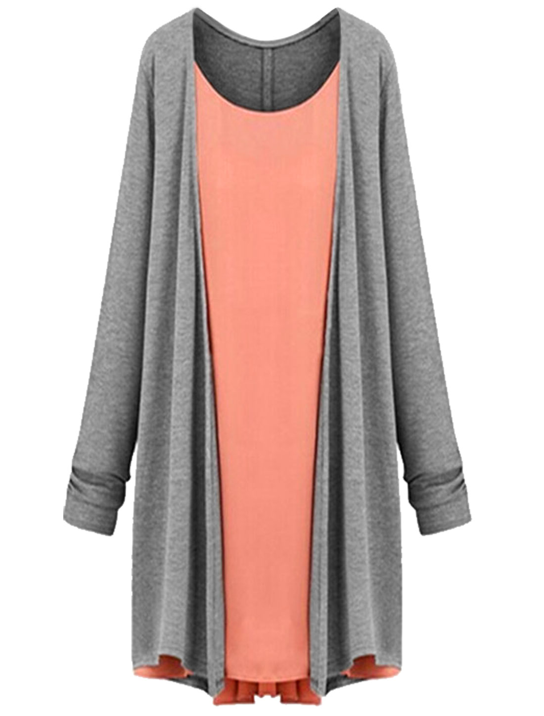Long Sleeves Chiffon Panel Casual Top for Women Salmon Gray M