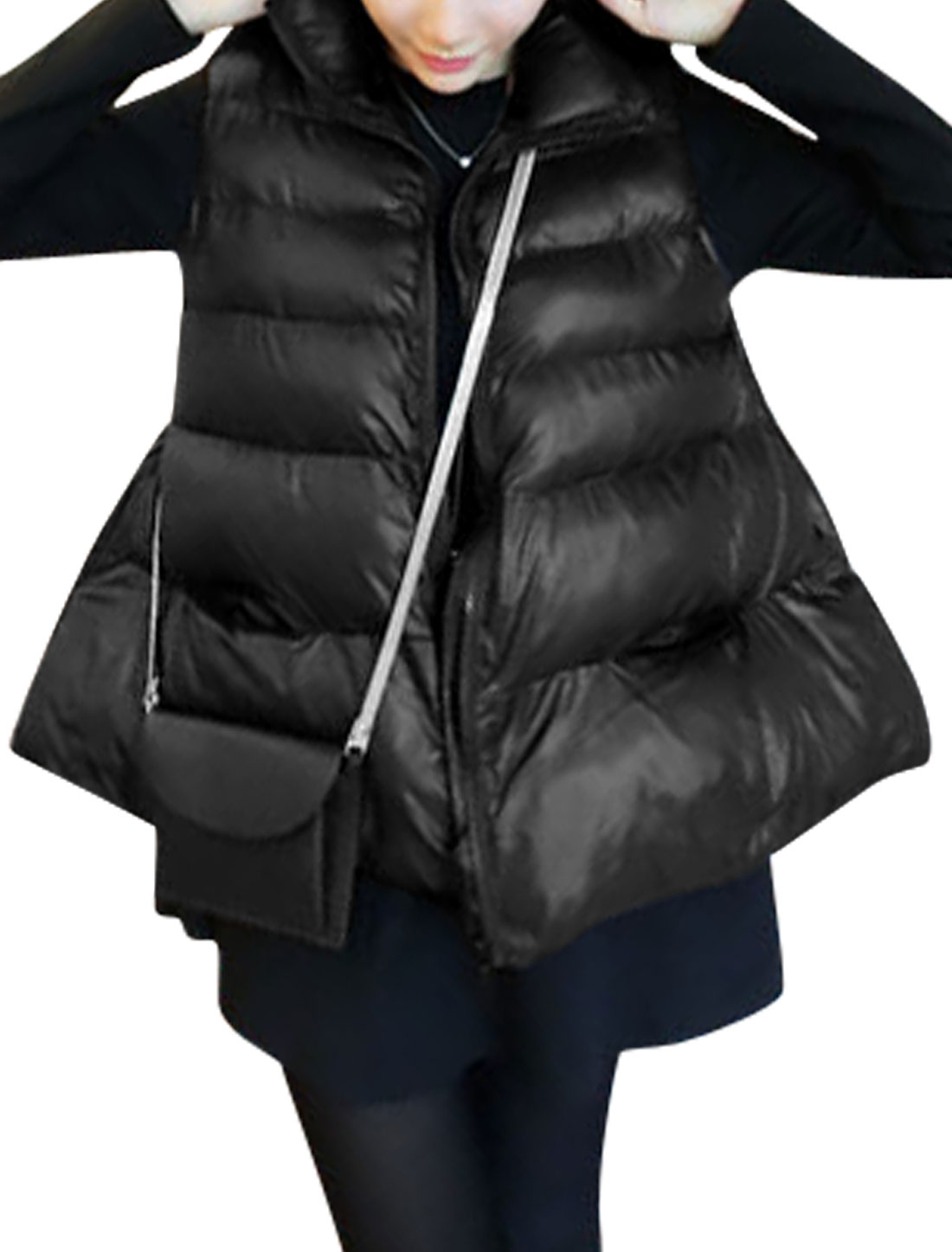 Stand Collar Sleeveless Casual Padded Vest for Women Black XS