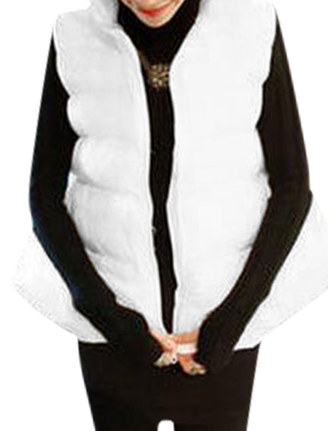 Stand Collar Full Zip Fashion White Padded Vest for Women XS