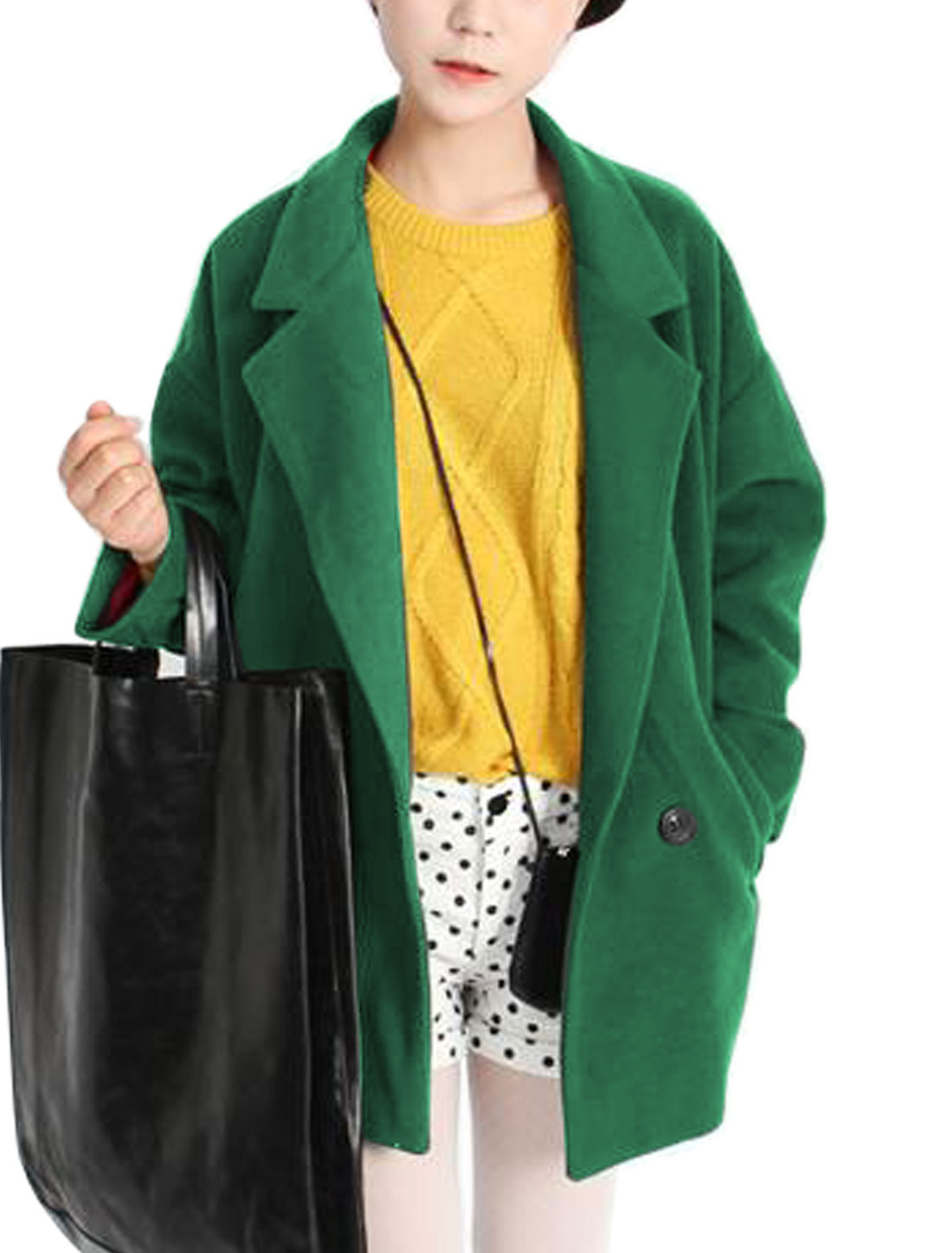 Double Pockets Front Batwing Sleeves Trench Worsted Coat for Women Dark Green XS