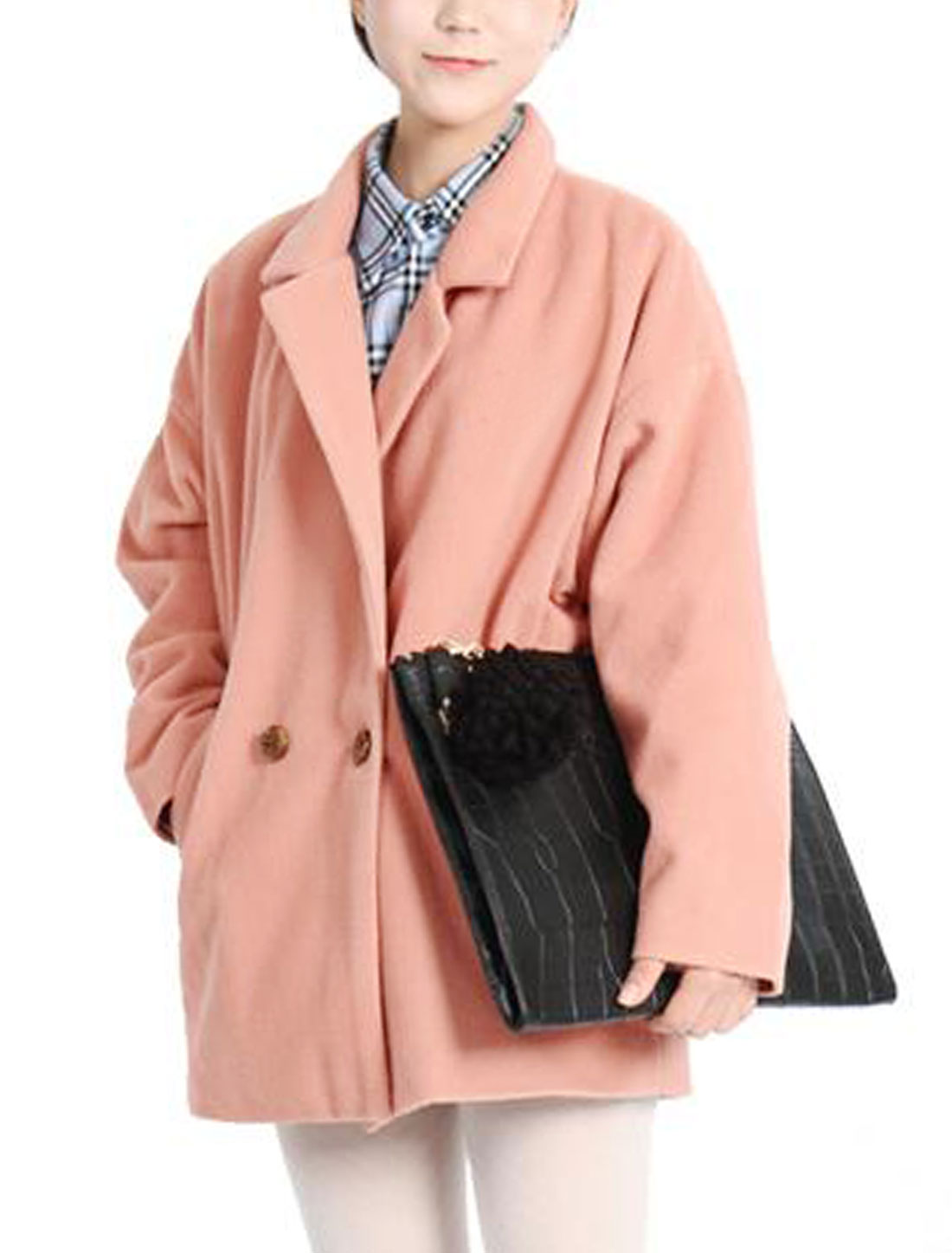 Women Bat Sleeves Notched Lapel Trendy Trench Worsted Coat Pale Pink XS