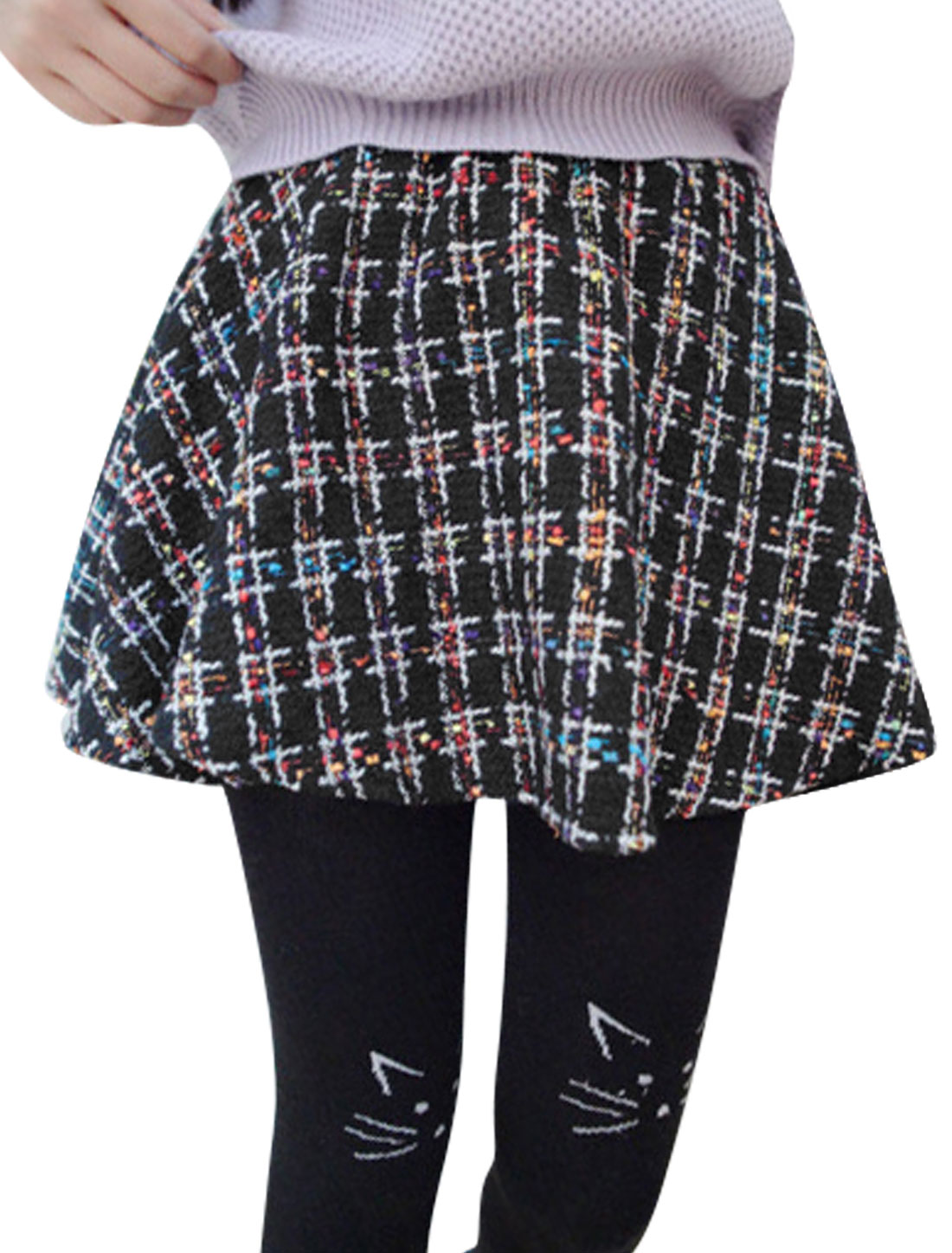 Natural Waist Textured Design Casual A-Line Skirt for Women Black Multicolor XS