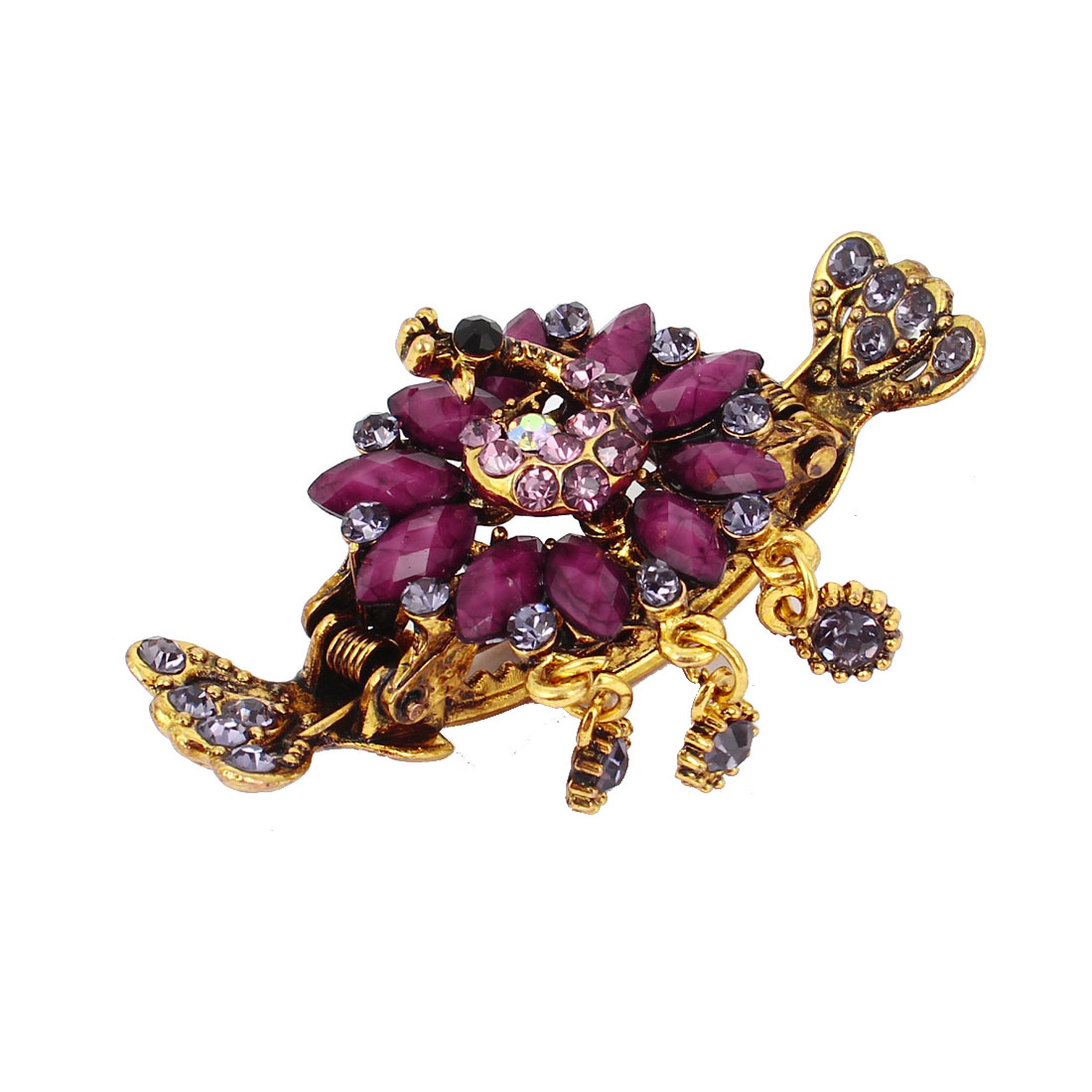 Woman Fuchsia Rhinestone Faux Crystal Inlaid Spring Loaded Hair Claw Clip Clamp