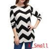 Women Round Neck Long Sleeve Zig-Zag Knitted Shirt Black White XS
