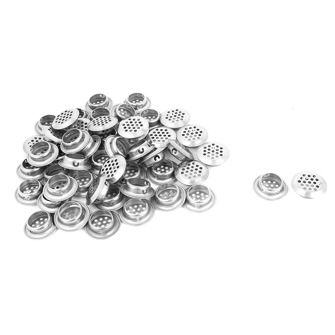 50 Pcs Stainless Steel 25mm Bottom Dia Round Perforated Mesh Air Vents Louvers