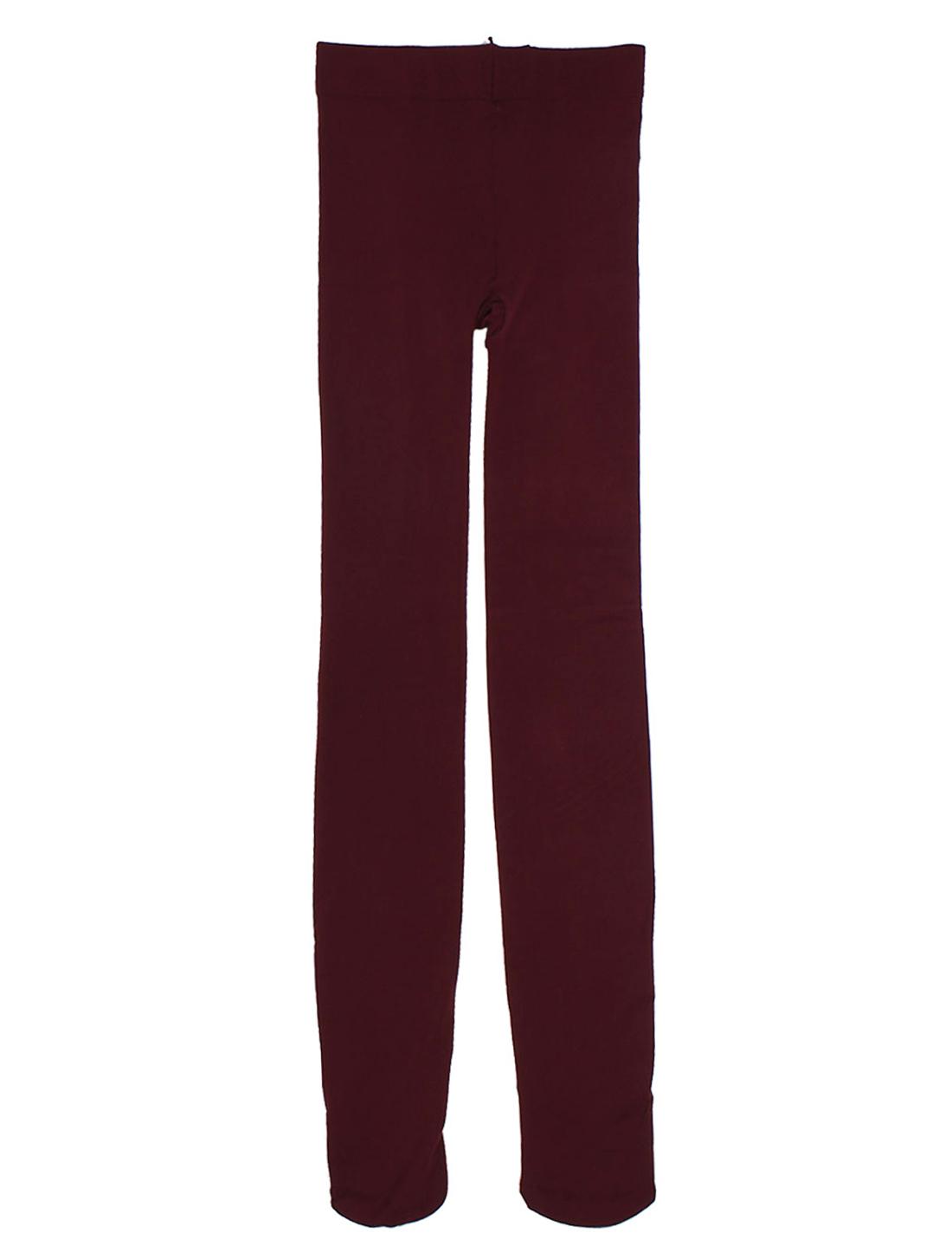 Women Elastic Waist Footed Skinny Tights Thicken Leggings Pantyhose Burgundy