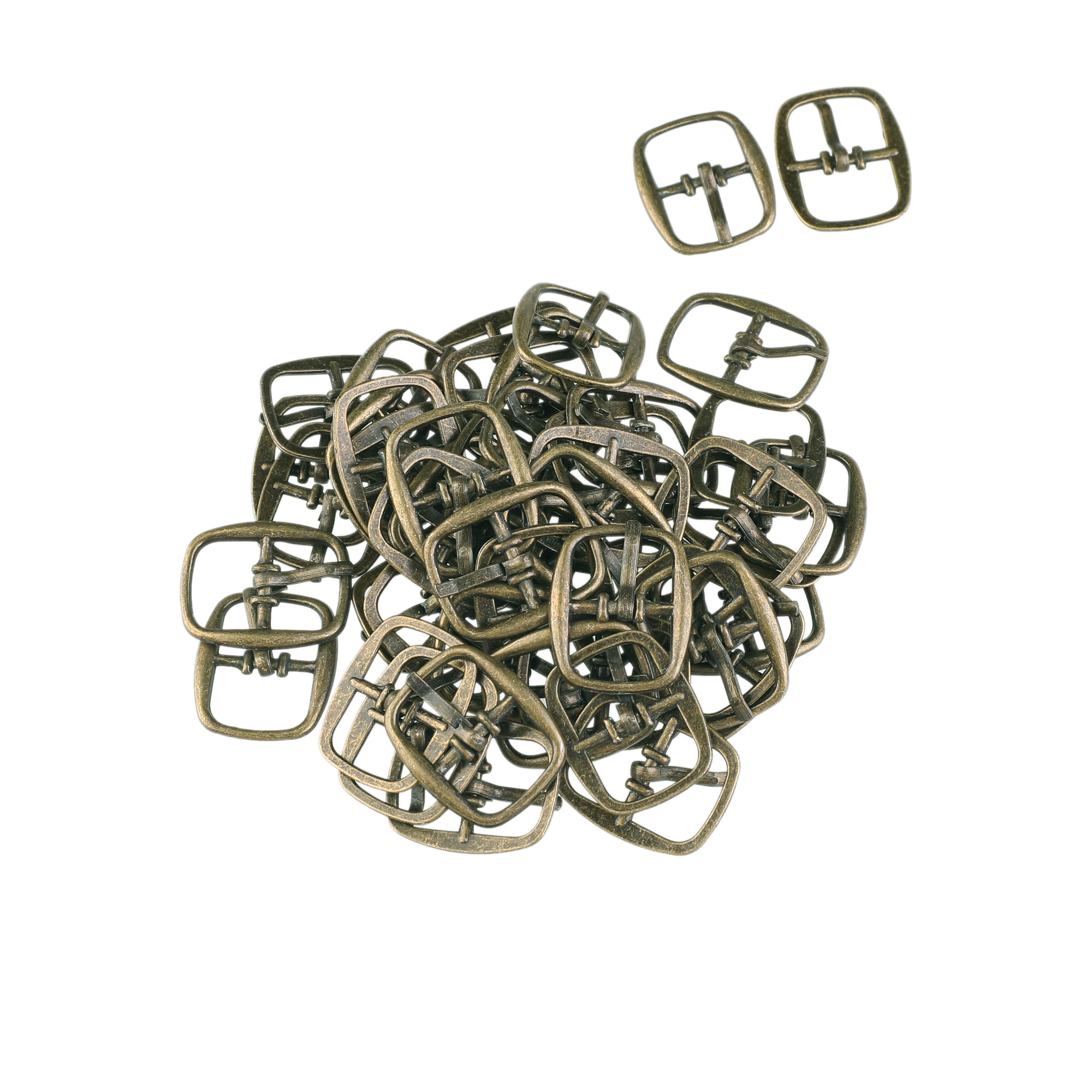 50 Pcs Rectangular Design Metallic Single Prong Pin Shoes Center Buckles Bronze Tone