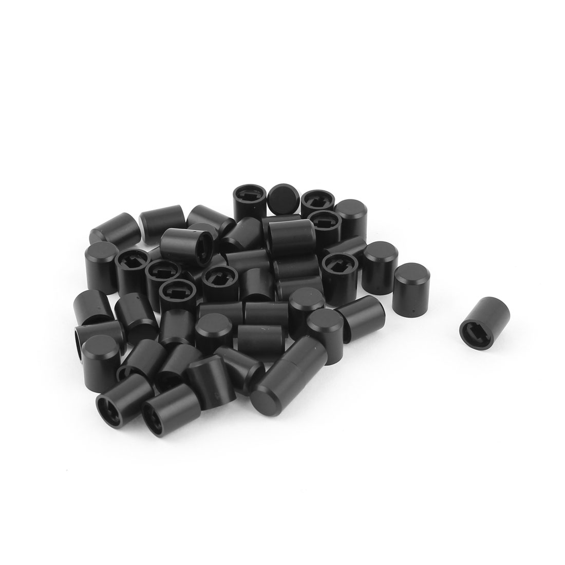 50pcs Household Black Plastic Range Hood Switch Cap Cover 8.3mmx10.5mm