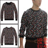 Man Black Pullover Dots Prints Ribbed Cuffs Leisure Sweatshirt M