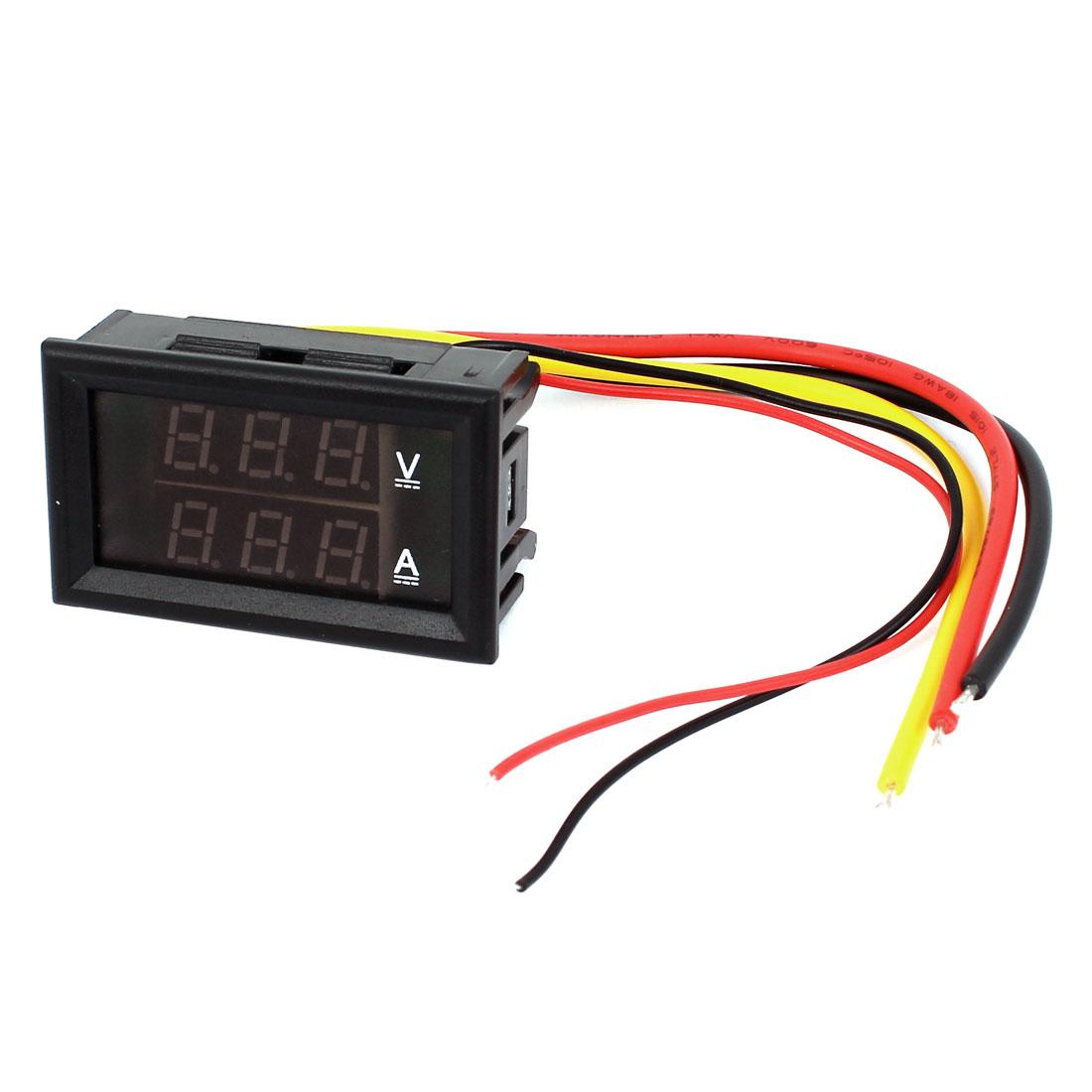 DC 0-100V 0-10A Red Blue 7-Segment 3-Bit LED Dual Display Ammeter Voltmeter