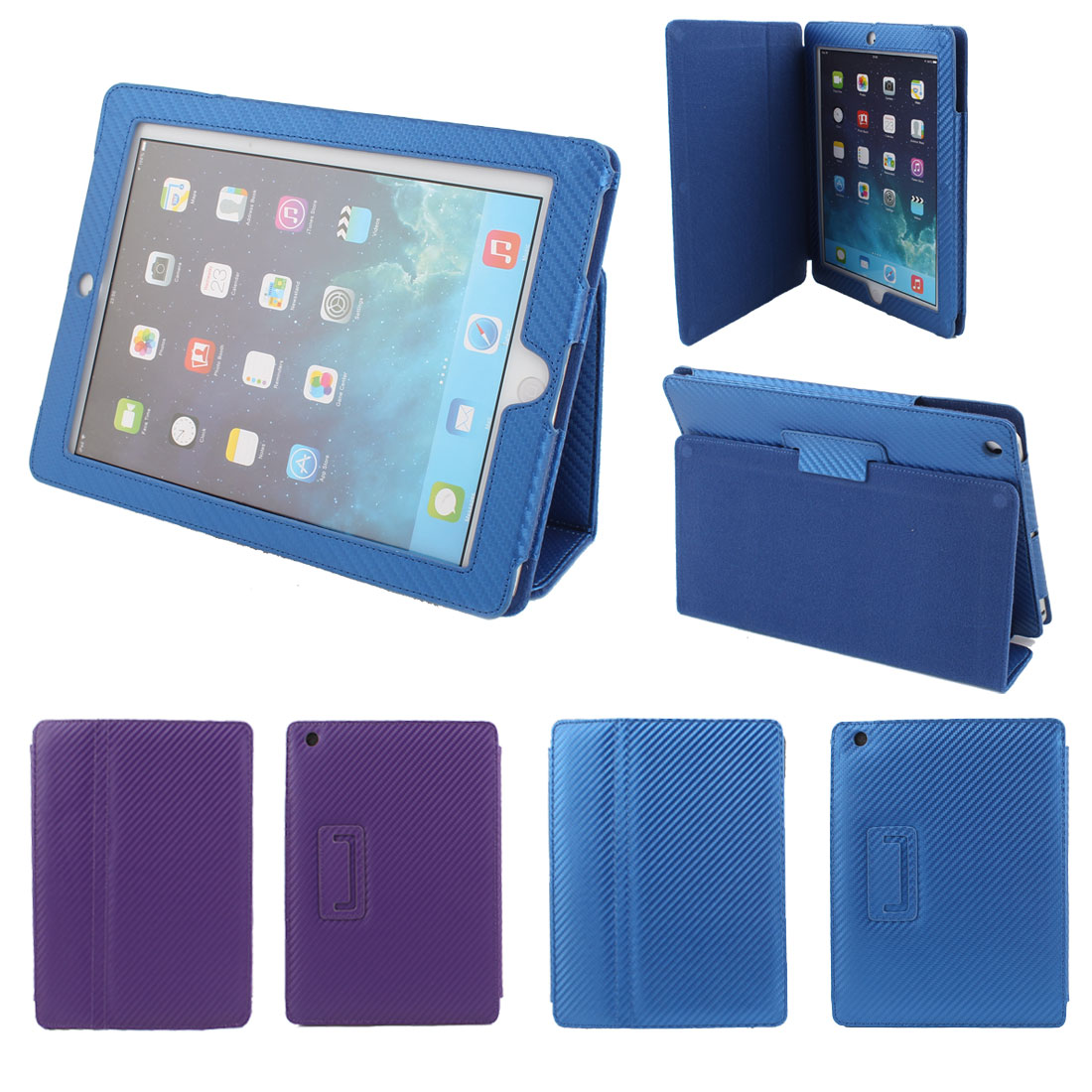 2Pcs Blue Purple PU Leather Magnetic Folio Flip Case Cover Stand for Apple iPad 2 3 4