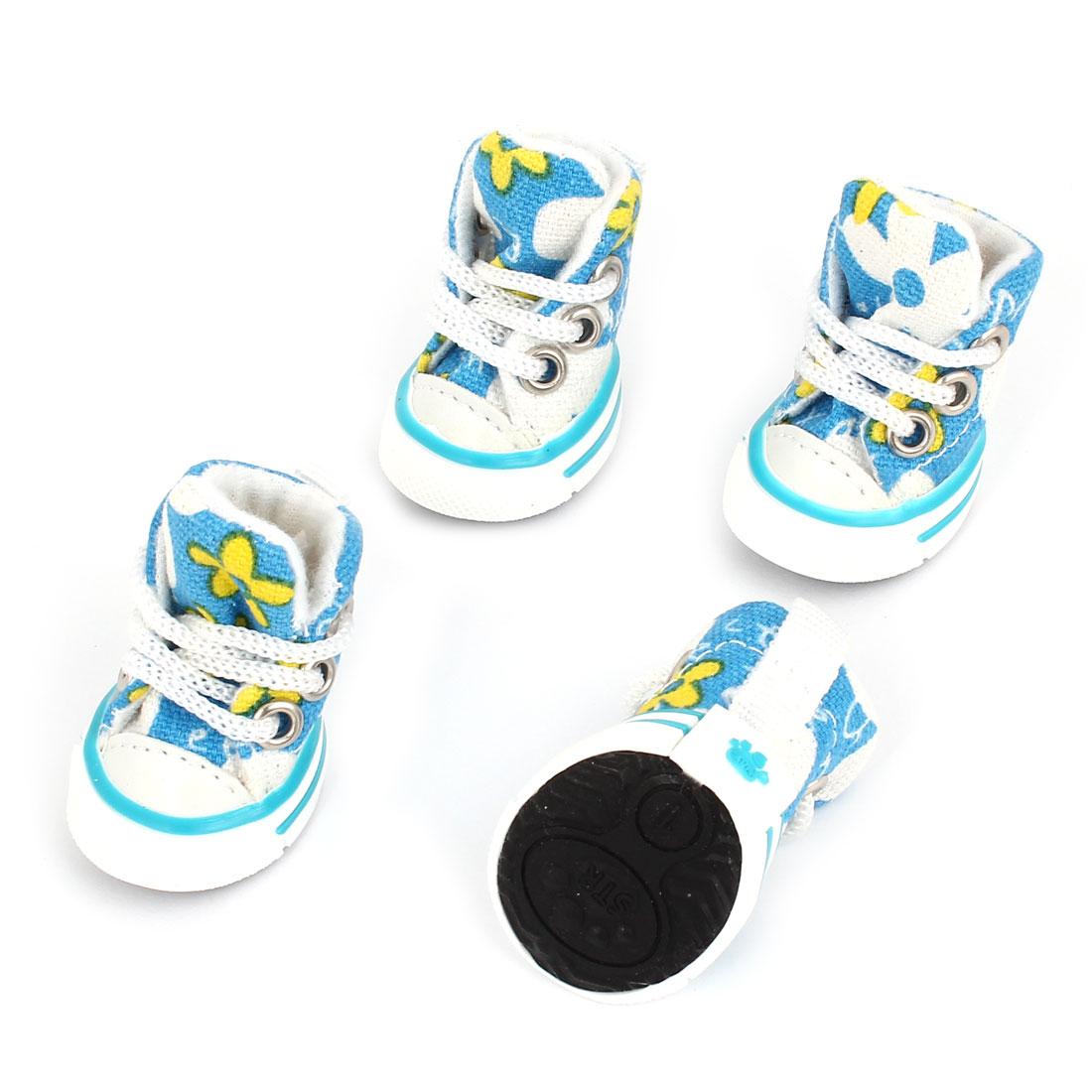 2 Pairs Nylon Shoe String Rubber Sole Flower Print Pet Dog Shoes Sneakers Blue White Size XXS