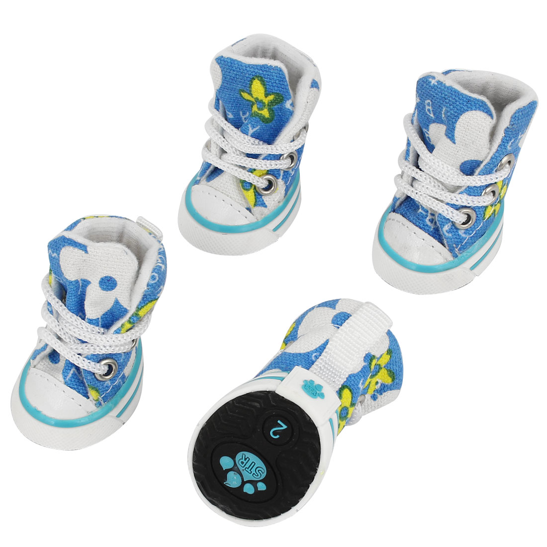 2 Pairs Nylon Shoe String Rubber Sole Flower Print Pet Dog Shoes Sneakers Blue White XS