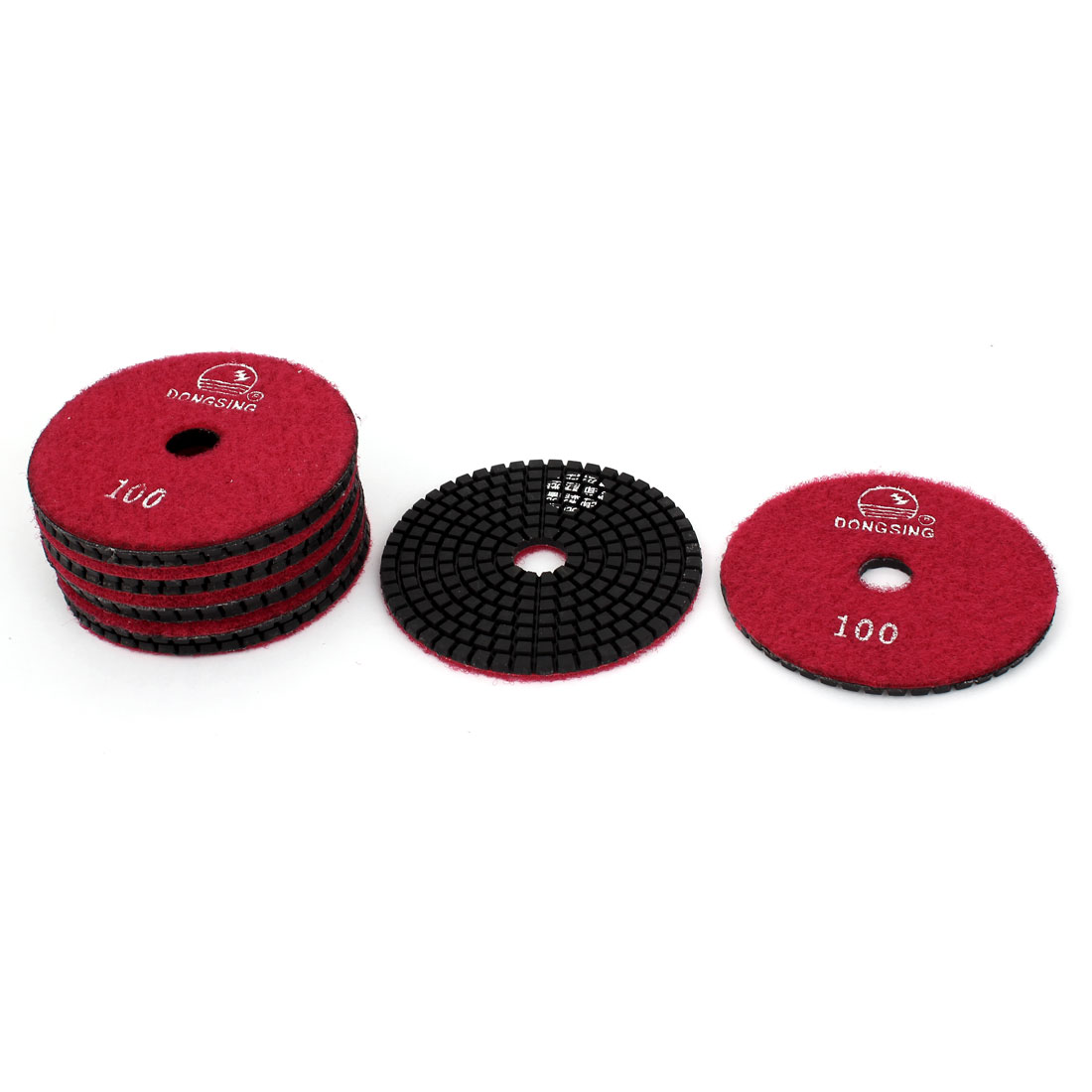 "10pcs 100 Grit 4"" Diameter Wet Diamond Polishing Pads Red for Granite Marble"