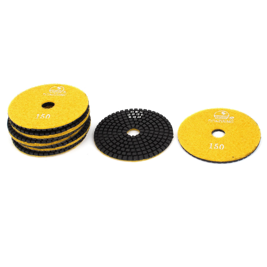 "10pcs 150 Grit 4"" Dia Wet Diamond Polishing Pads Yellow for Granite Marble"