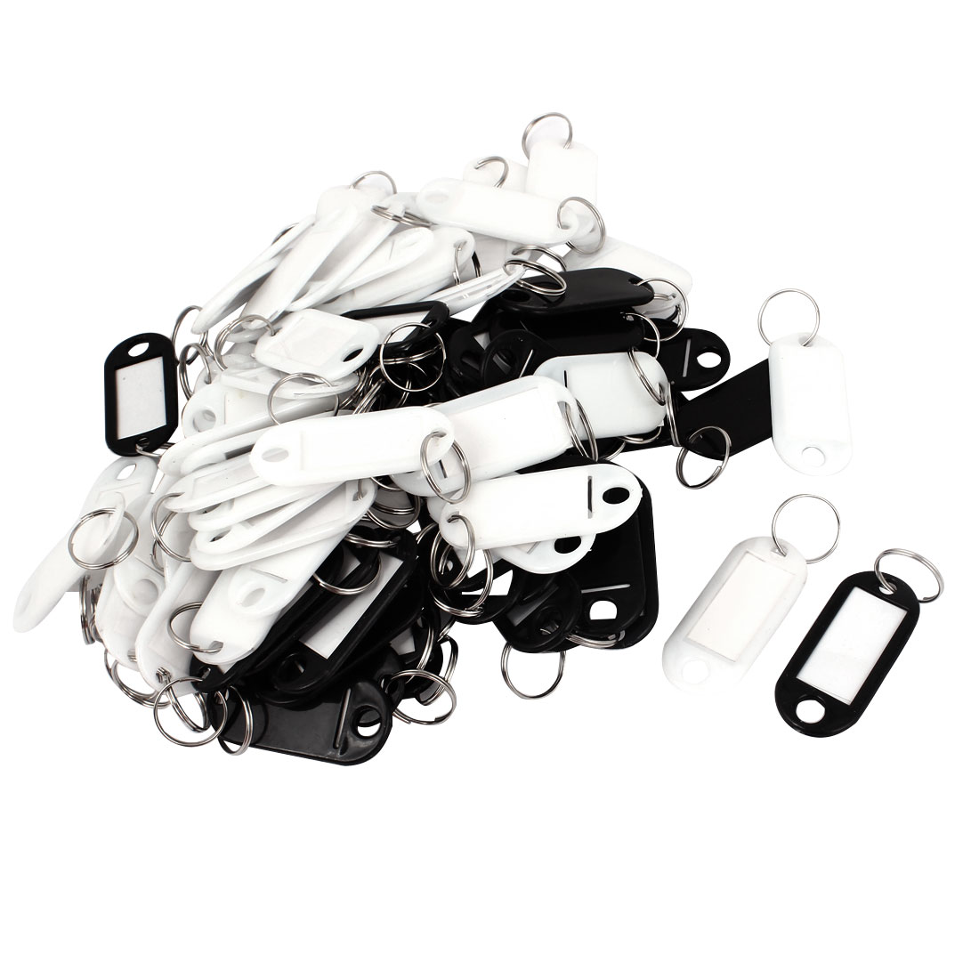 100pcs Black White Plastic Luggage ID Label Name Tag Badge Clip Holder Keyring