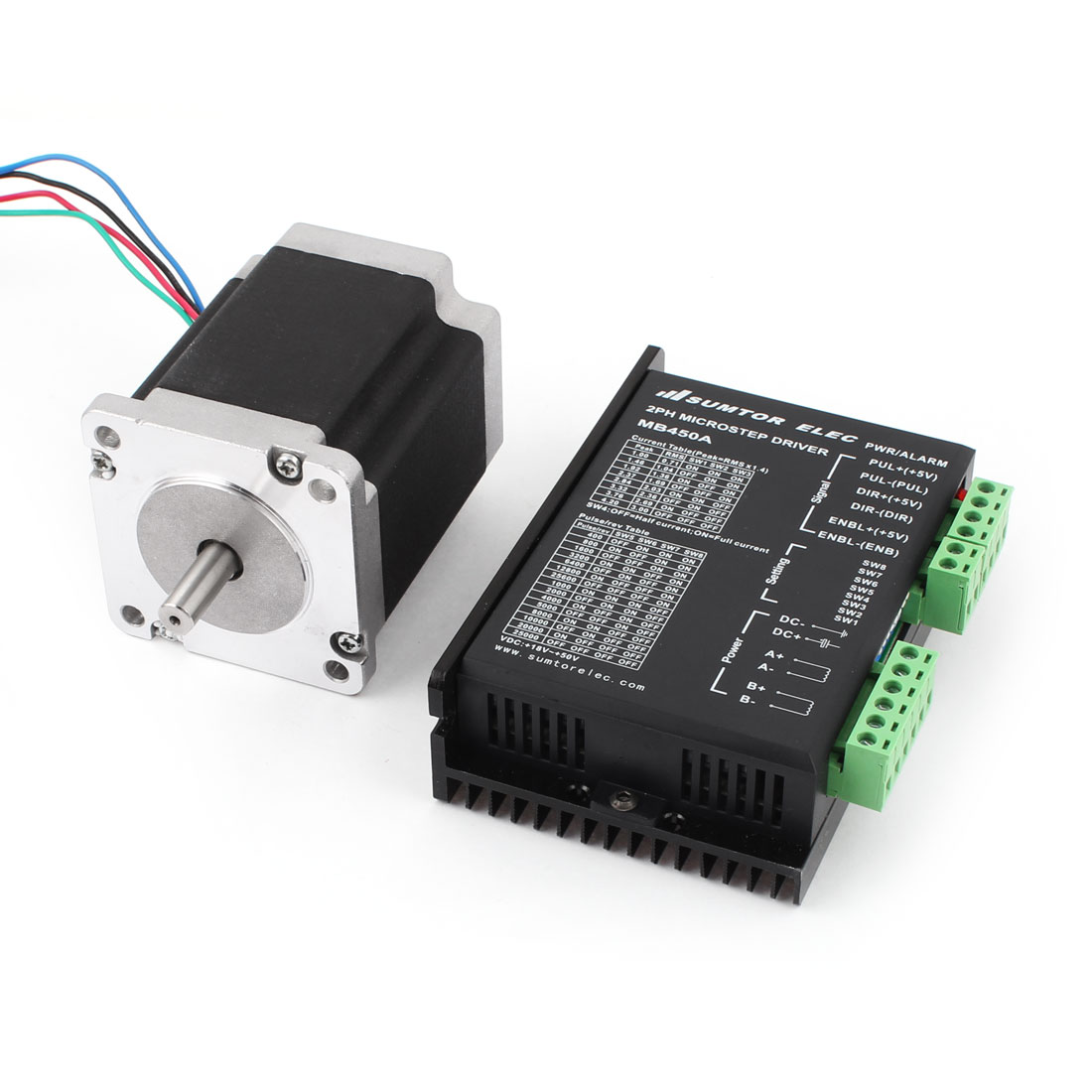 Mill Robot 2 Phase Lathe CNC Stepper Motor 4A 76mm + MB450A Stepper Motor Driver