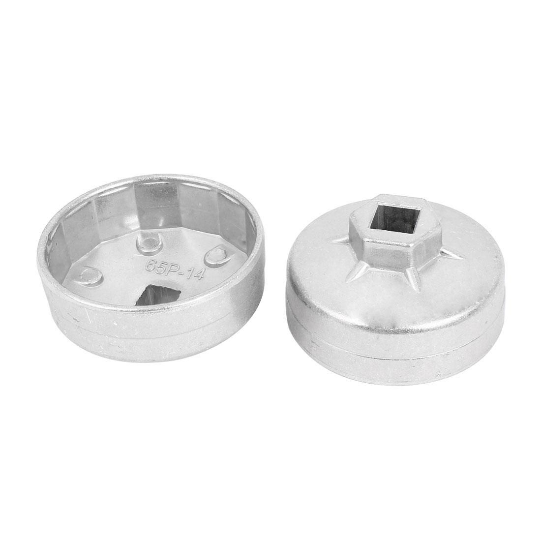 Cap Style 65mm Inside Dia 13mm Drive 14 Flute Oil Filter Cap Wrench Cup Socket Tool 2 Pcs