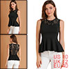 Ladies Pullover Lace Splice Hollow Out Ruffles Hem Peplum Top Black M