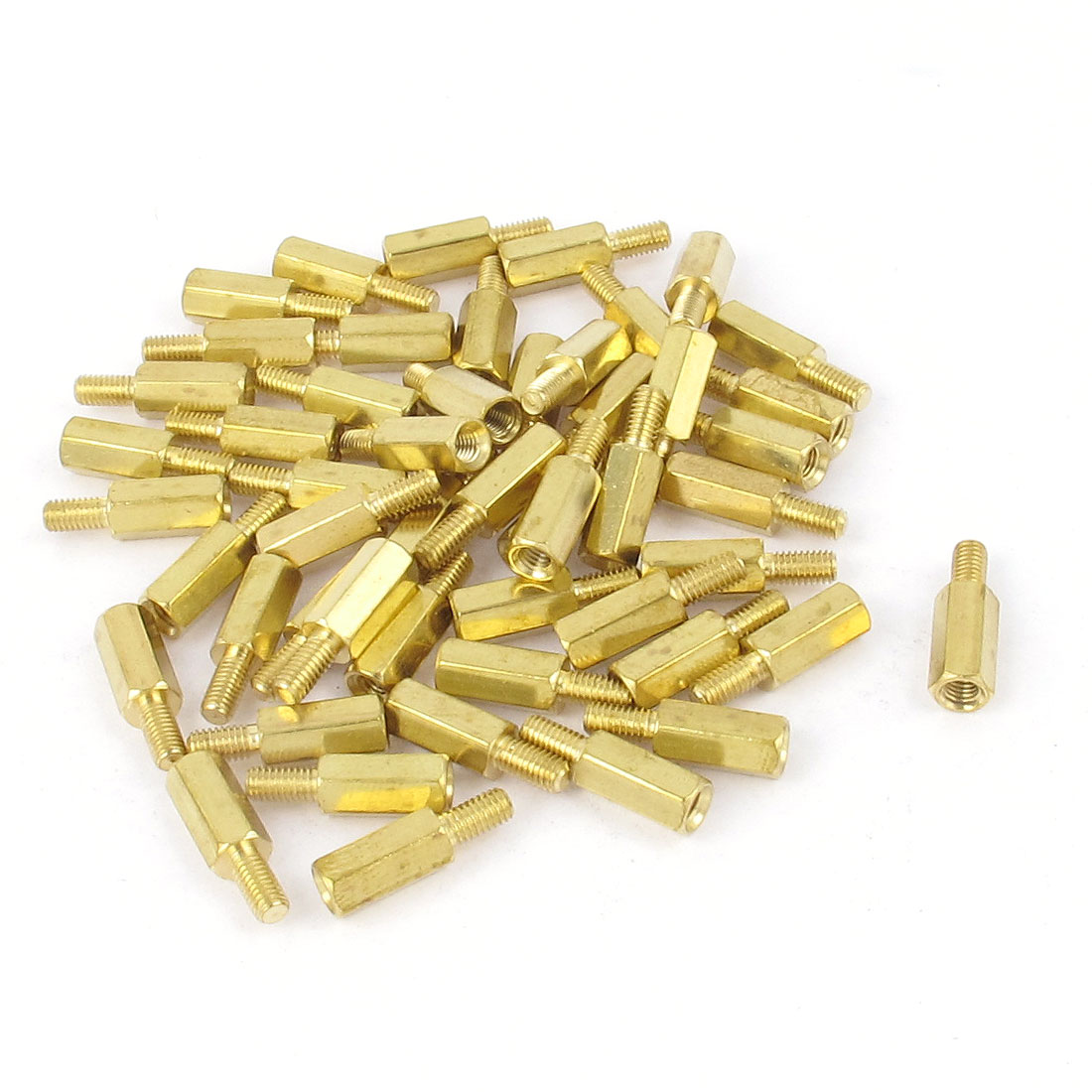 50pcs M3 10mm+6mm Female to Male Hexagonal Nut Brass Standoff Spacer Pillar for PCB Motherboard