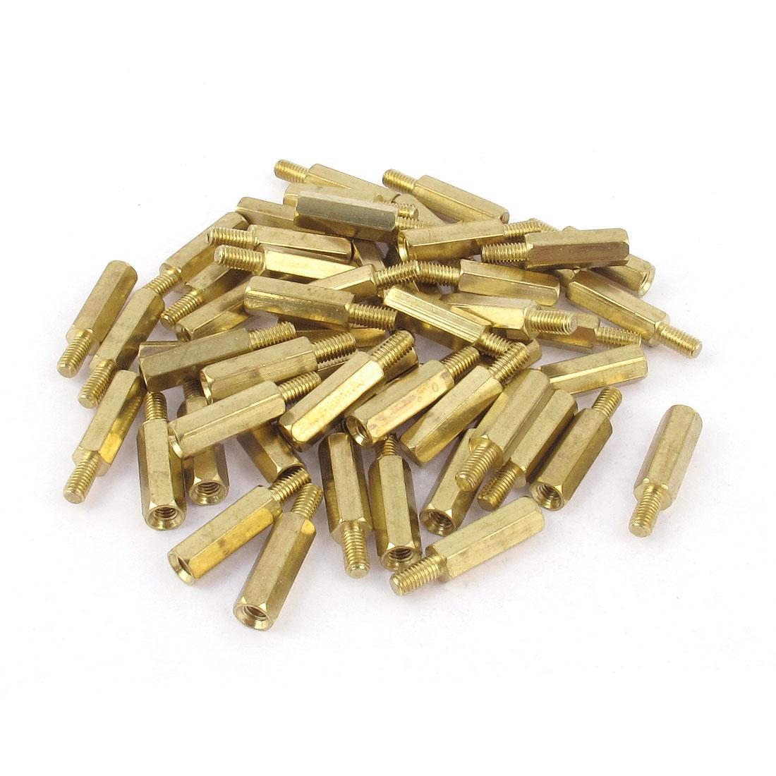 50Pcs M3 Male Female Thread Brass Hex Stand-Off PCB Spacer Screw Pillar