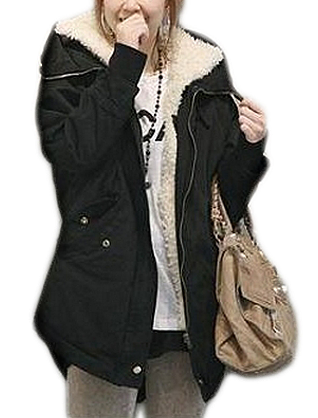 Lady Winter Warm Faux Fur Parka Jacket Hooded Coat Top Outerwear Black M