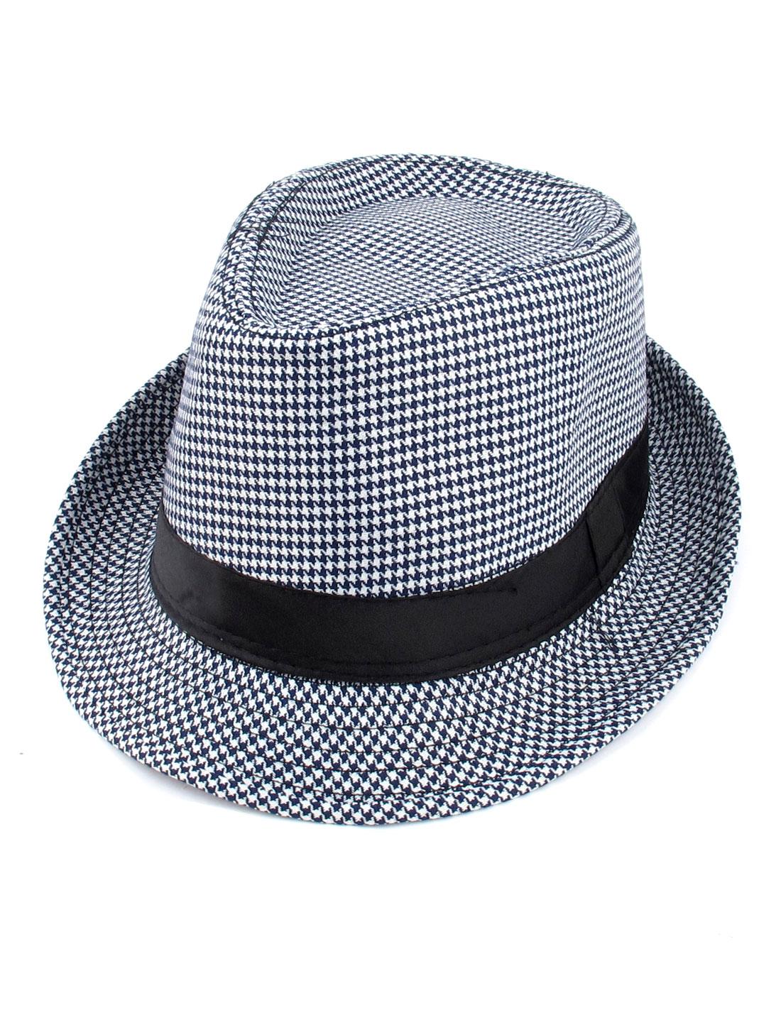 Unisex Black White Houndstooth Pattern Roller Brim Fedora Trilby Cap Hat