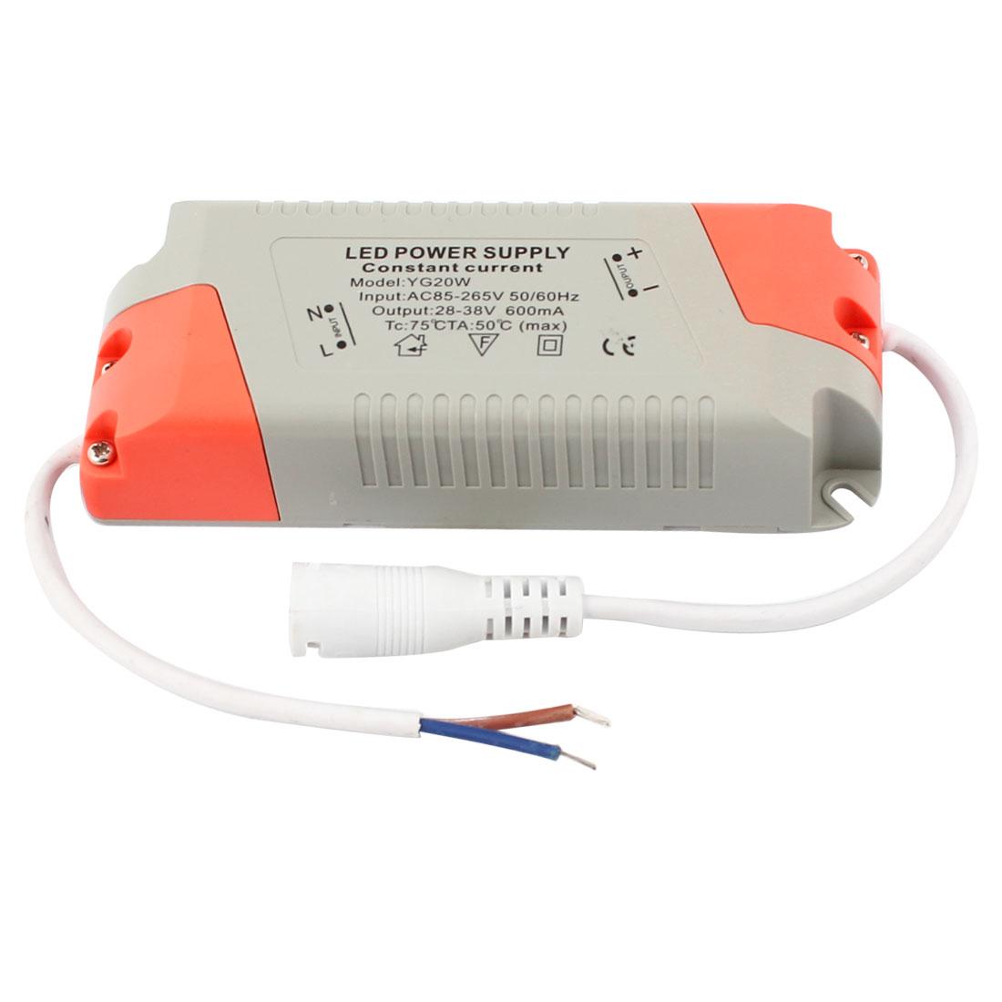 AC 85-265V to DC 28-38V DC 5.5x2.1mm Female 20W LED Light Power Supply