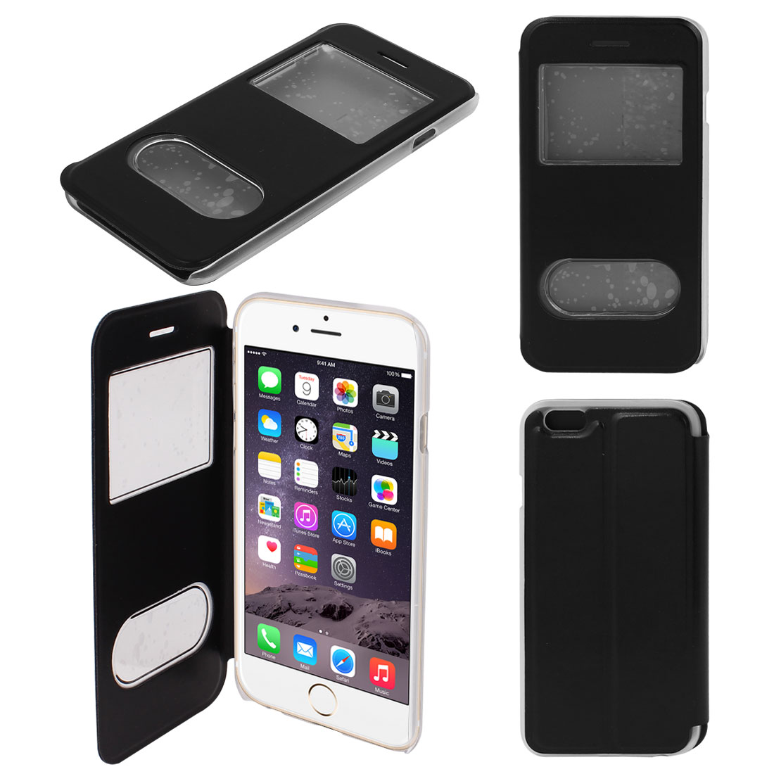 Black Faux Leather Flip Case Protector Cover for Apple iPhone 6 6G 4.7""