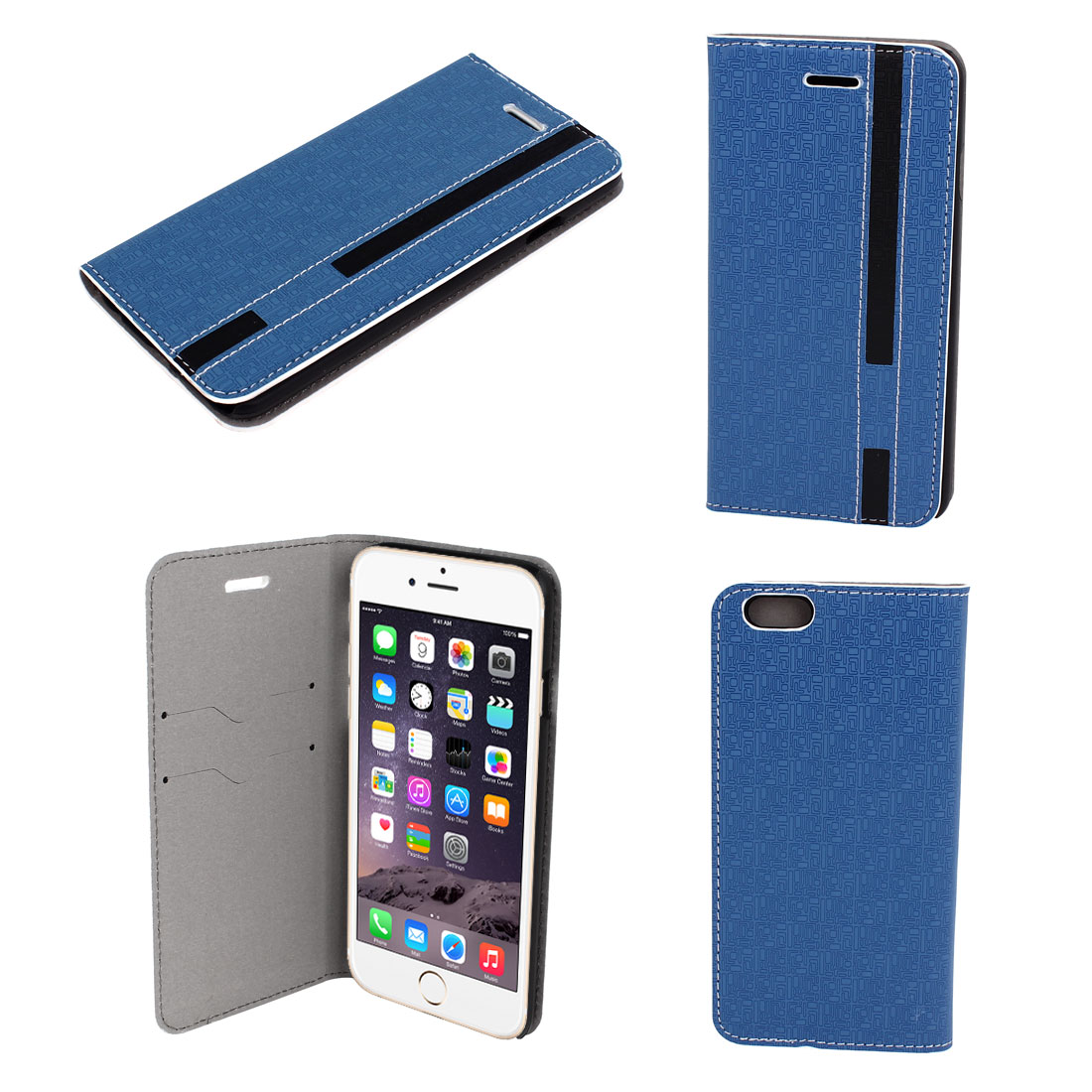 Blue Faux Leather Flip Case Protector Cover for Apple iPhone 6 6G 6th 4.7""