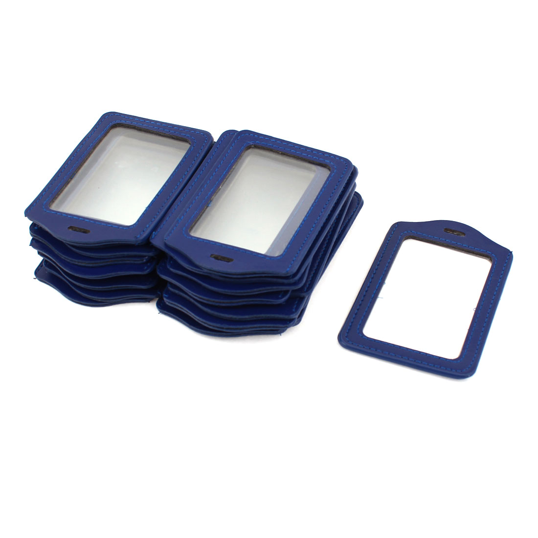 ID Credit Badge Name Card Holder Vertical Container Dark Blue Clear 25pcs