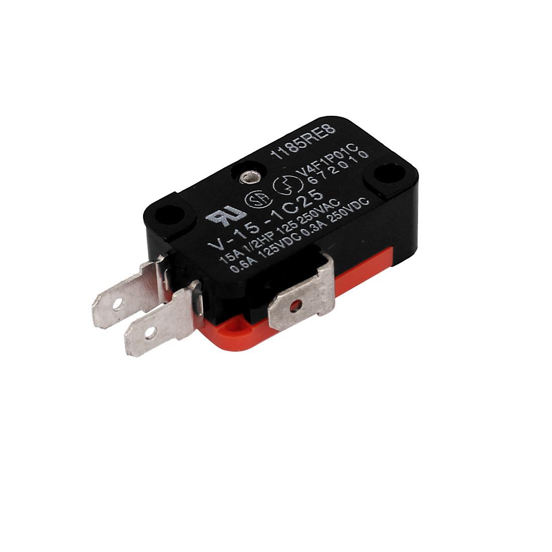 SPDT 3 Terminals Momentary Micro Switch 15A AC125/250V 0.6A DC125V 0.3A DC250V