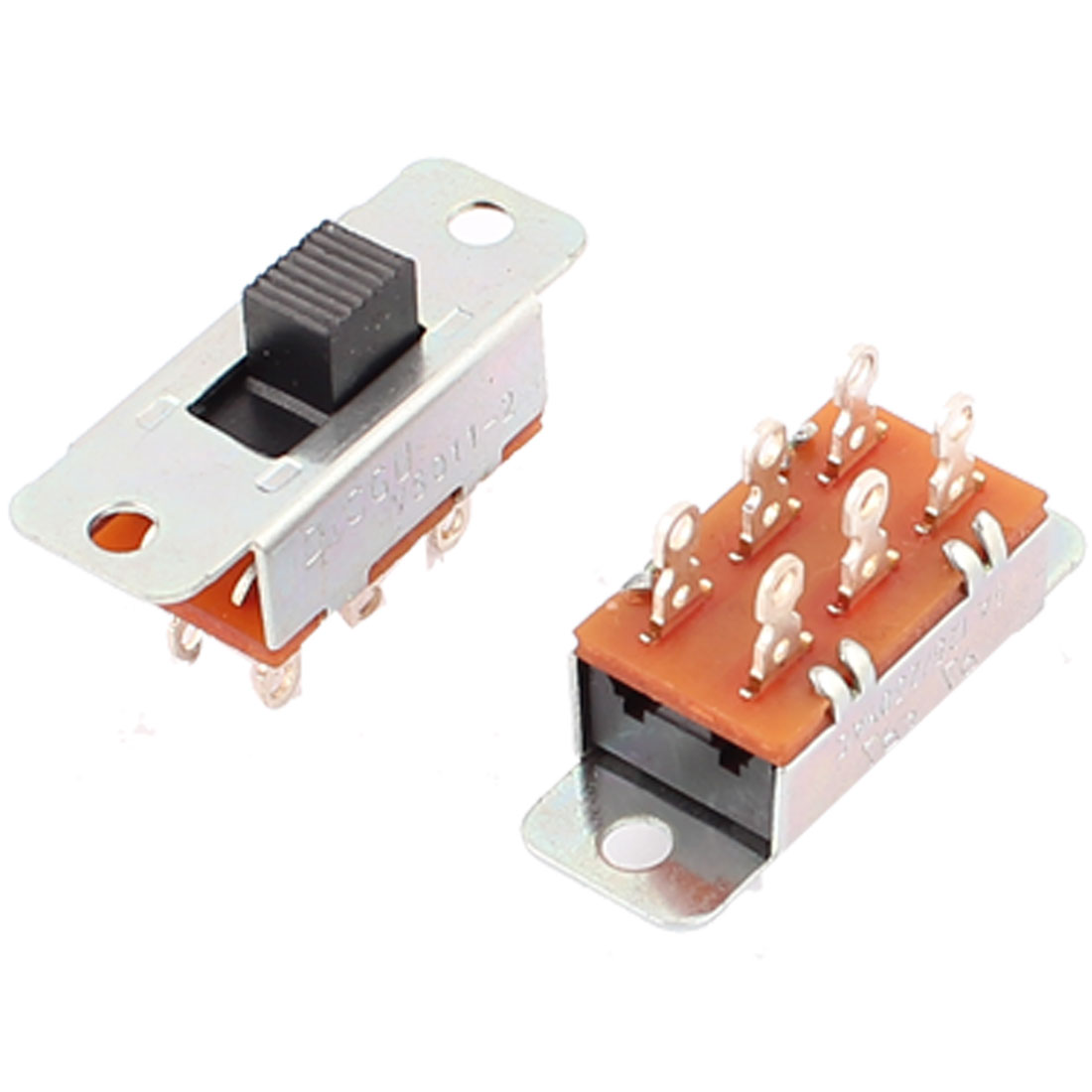 2Pcs AC 125V/250V 6A 2 Position ON/OFF 6 Pin DPDT Panel Mount Vertical Slide Switches