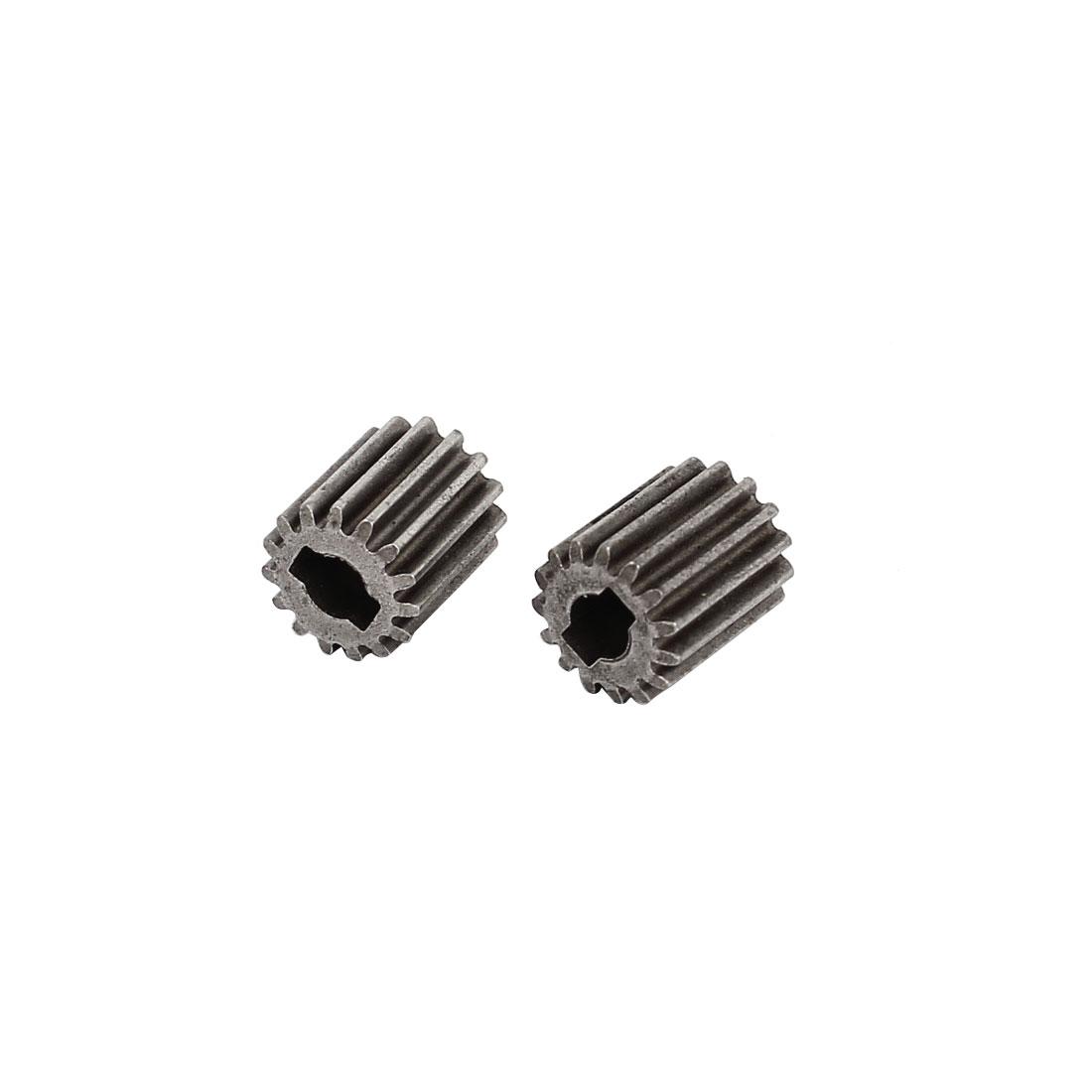 2pcs 8.5 x 10 x 3mm 15 Teeth Metal Gear Cog Wheel for DIY Toy Car Motor Shaft