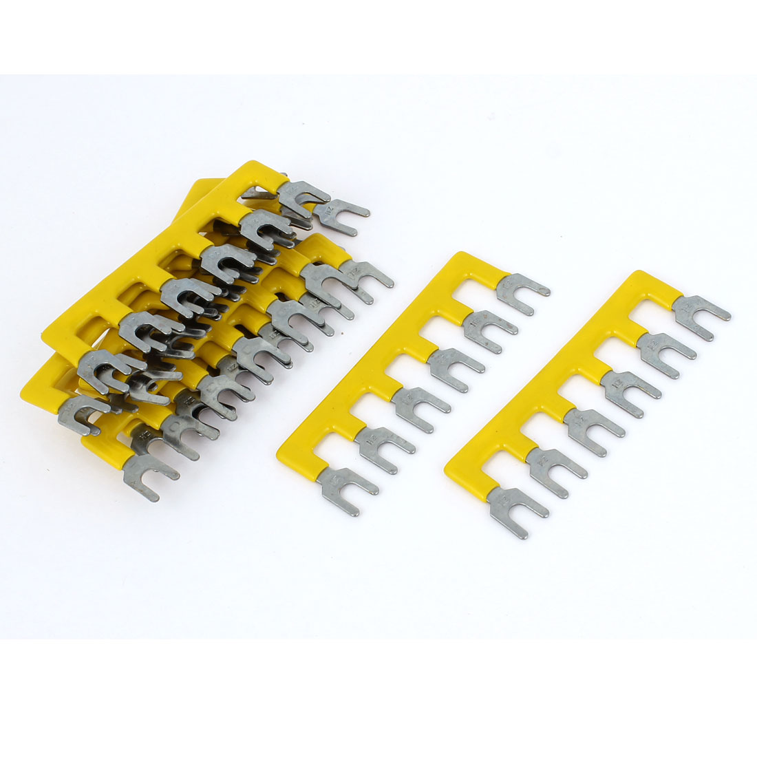 10pcs TB2506 6P Wire Connector Pre Insulated Fork Terminal Strip Yellow 400V 10A