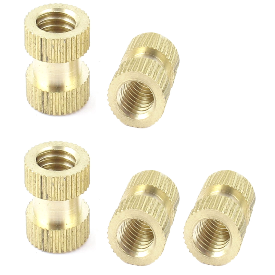 5Pcs M8 Thread Solid Brass Knurled Thumb Nut Insert Embedded Part 16mm