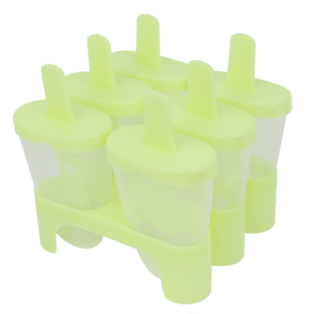 Home Plastic DIY Ice Candy Bar Mold Frozen Juice Frame Tray Sherbet Maker Green 6 Pcs