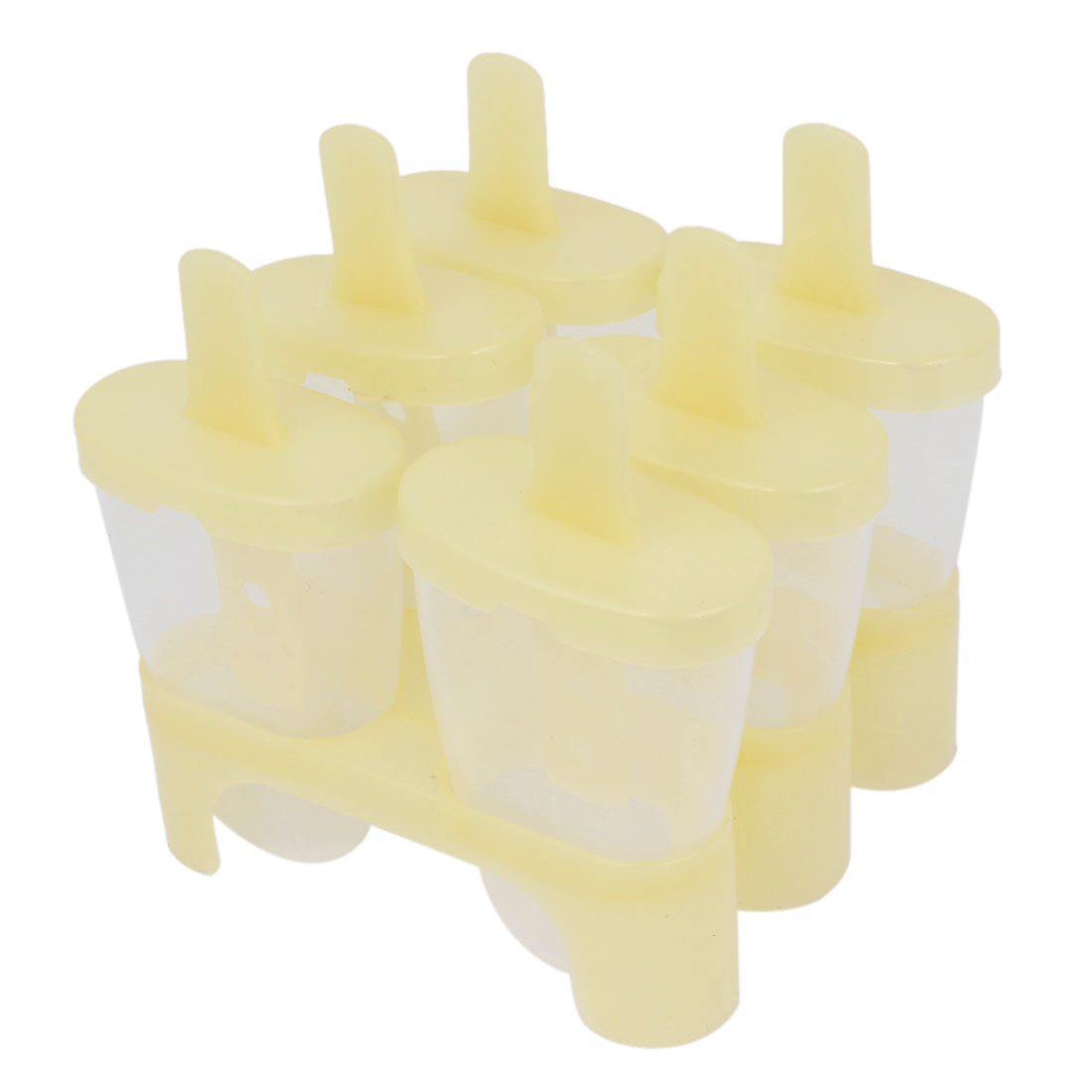 Home Plastic DIY Ice Candy Bar Mold Frozen Juice Frame Tray Sherbet Maker Yellow 6 Pcs