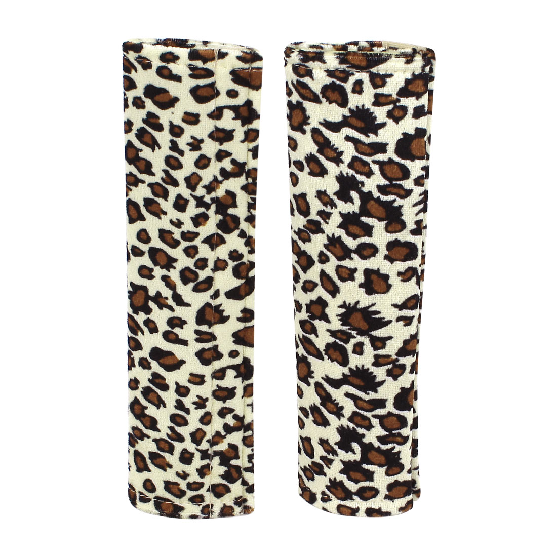 Leopard Print Hook Loop Closure Safety Seat Belt Cover Protector Beige Brown 2 Pcs