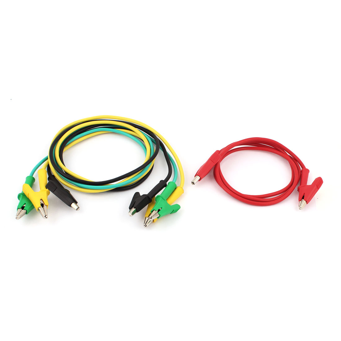 4 Pcs 1m Long Alligator Clip Electrical Clamp Insulated Test Lead Cable