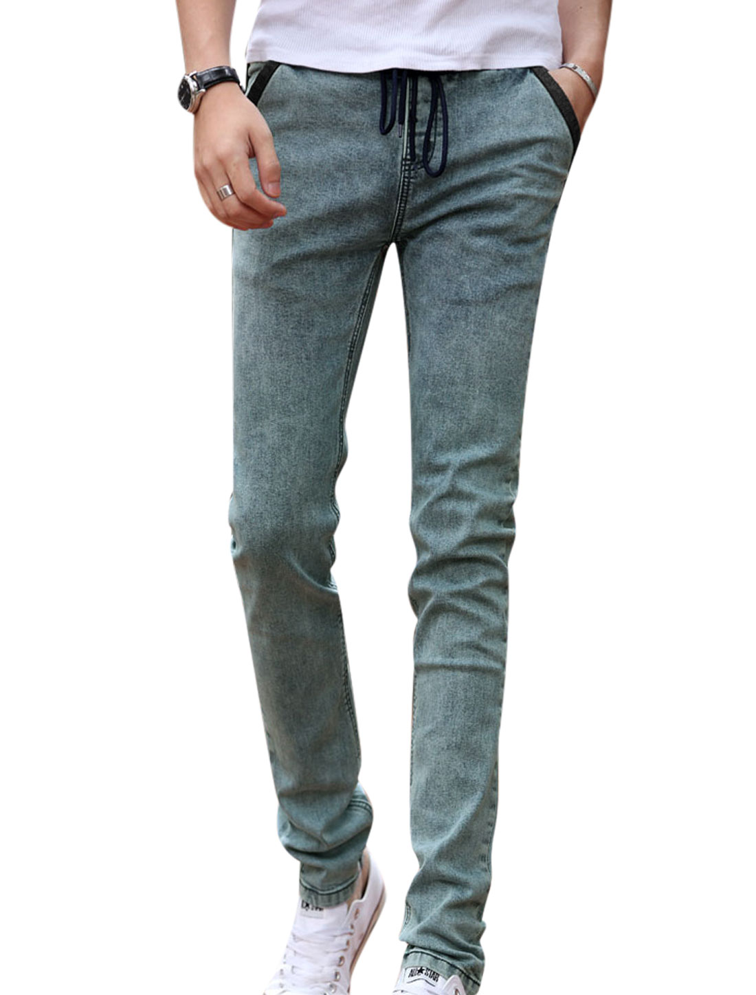 Men Mid Rise Hip Pockets Decor Drawstring Casual Jeans Blue W32
