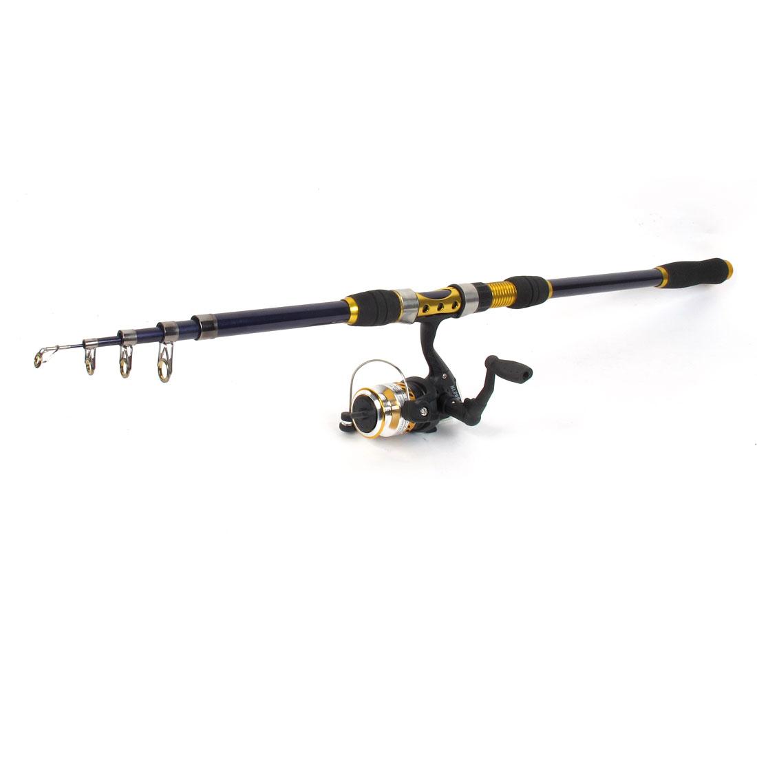 2.1M Telescopic Carbon Fiber Retractable Fishing Rod Pole w Spinning Reel Conmbo