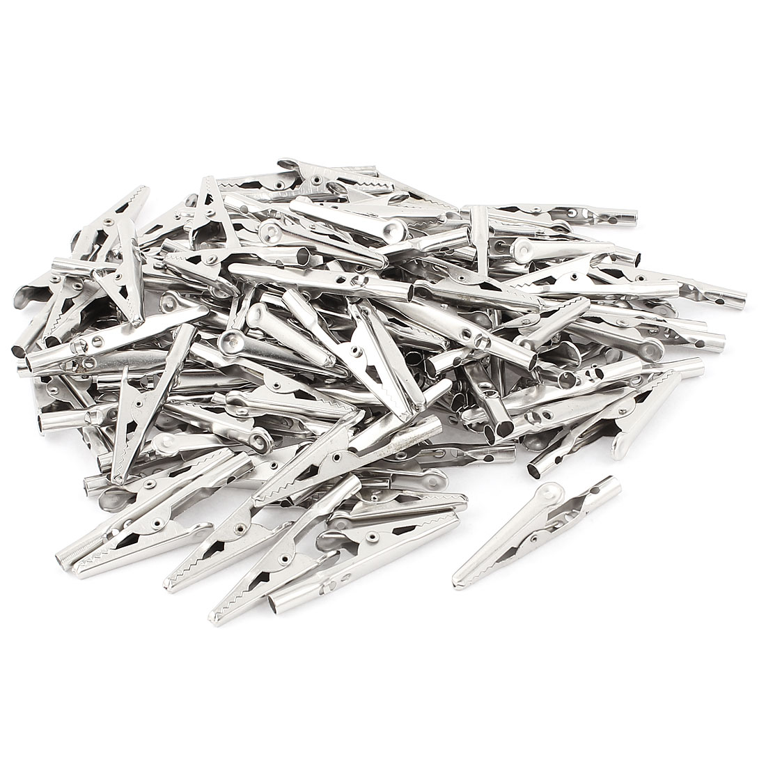 100 Pcs Electric Test Crocodile Alligator Clips Clamps Silver Tone