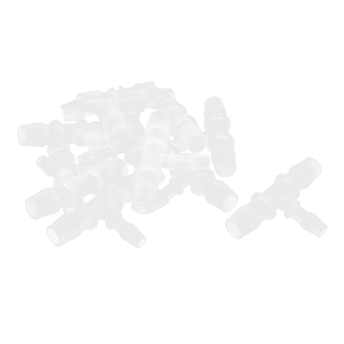 12 Pcs Clear White Plastic T Shape 3 Way Aquarium Fish Tank Water Tubing Connectors