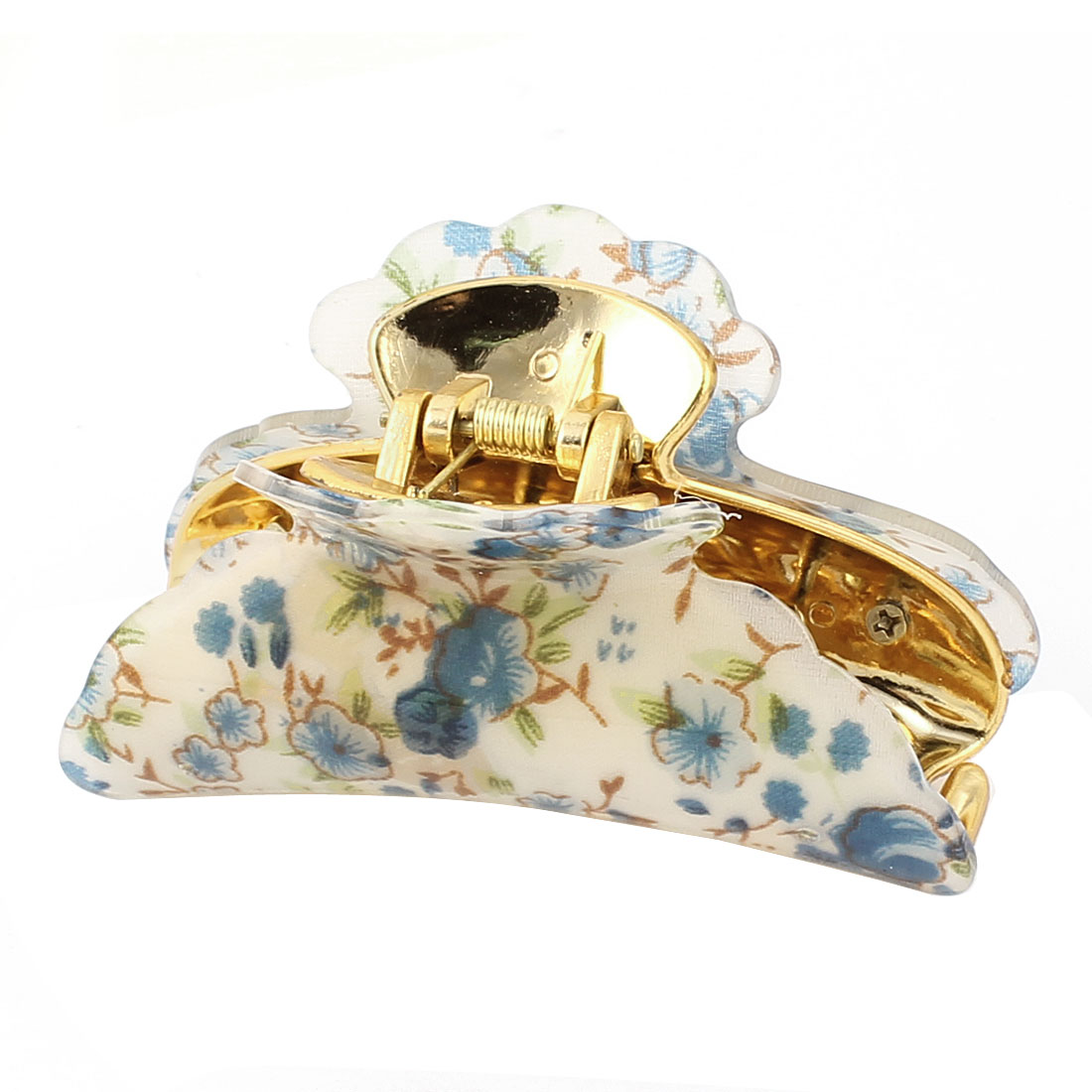 Women Spring Loaded Plastic Flower Pattern Hair Claw Clamp Beige Blue