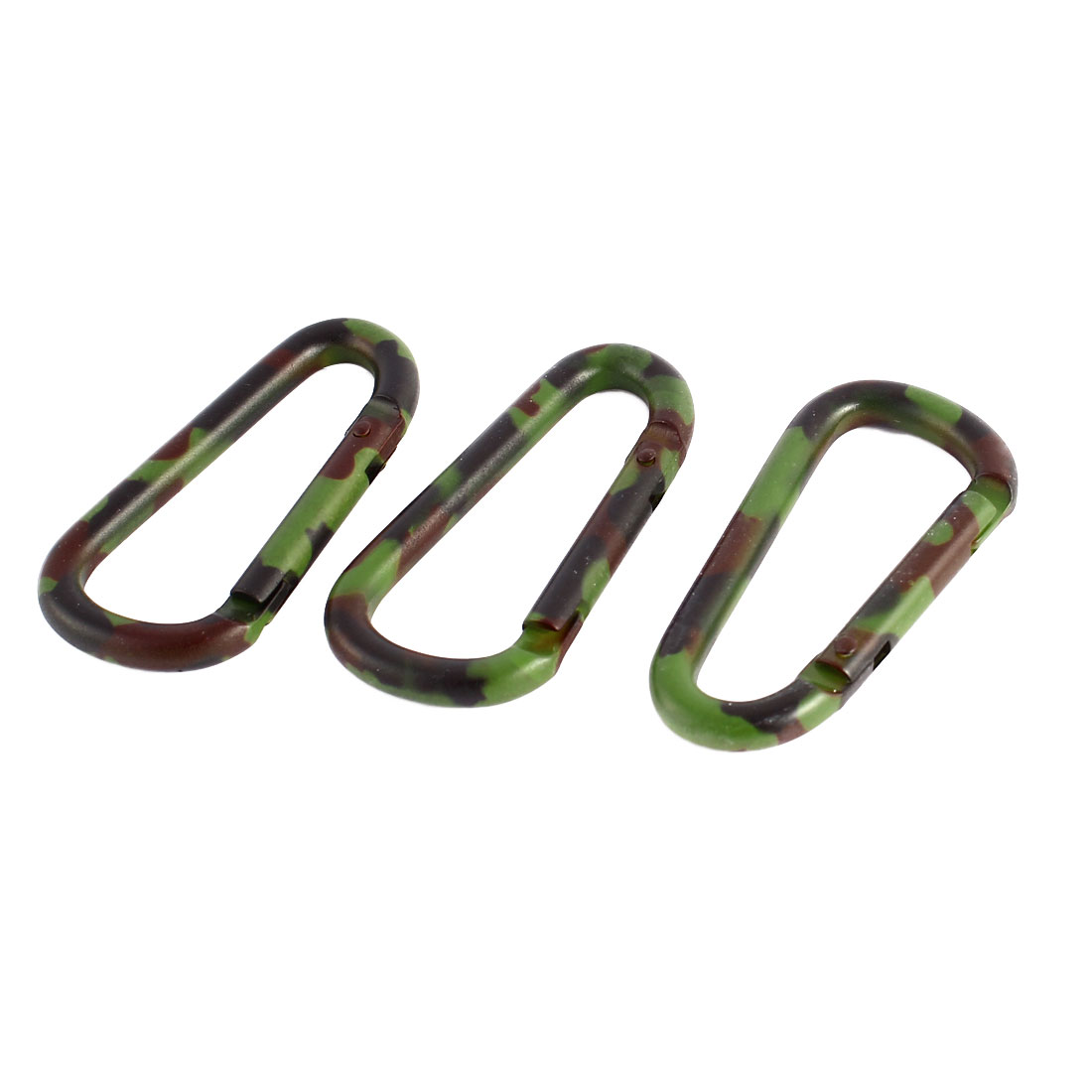 3Pcs Outdoor Camouflage Color Aluminum Alloy Spring Loaded Gate Carabiner Hook