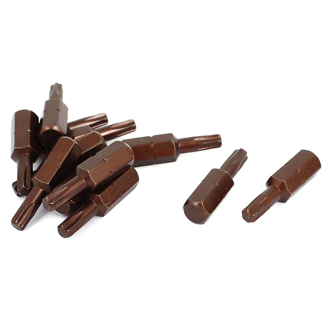 "25mm Length 1/4"" Hex Shank T20 Magnetic Tip Torx Screwdriver Bits 12 Pcs"