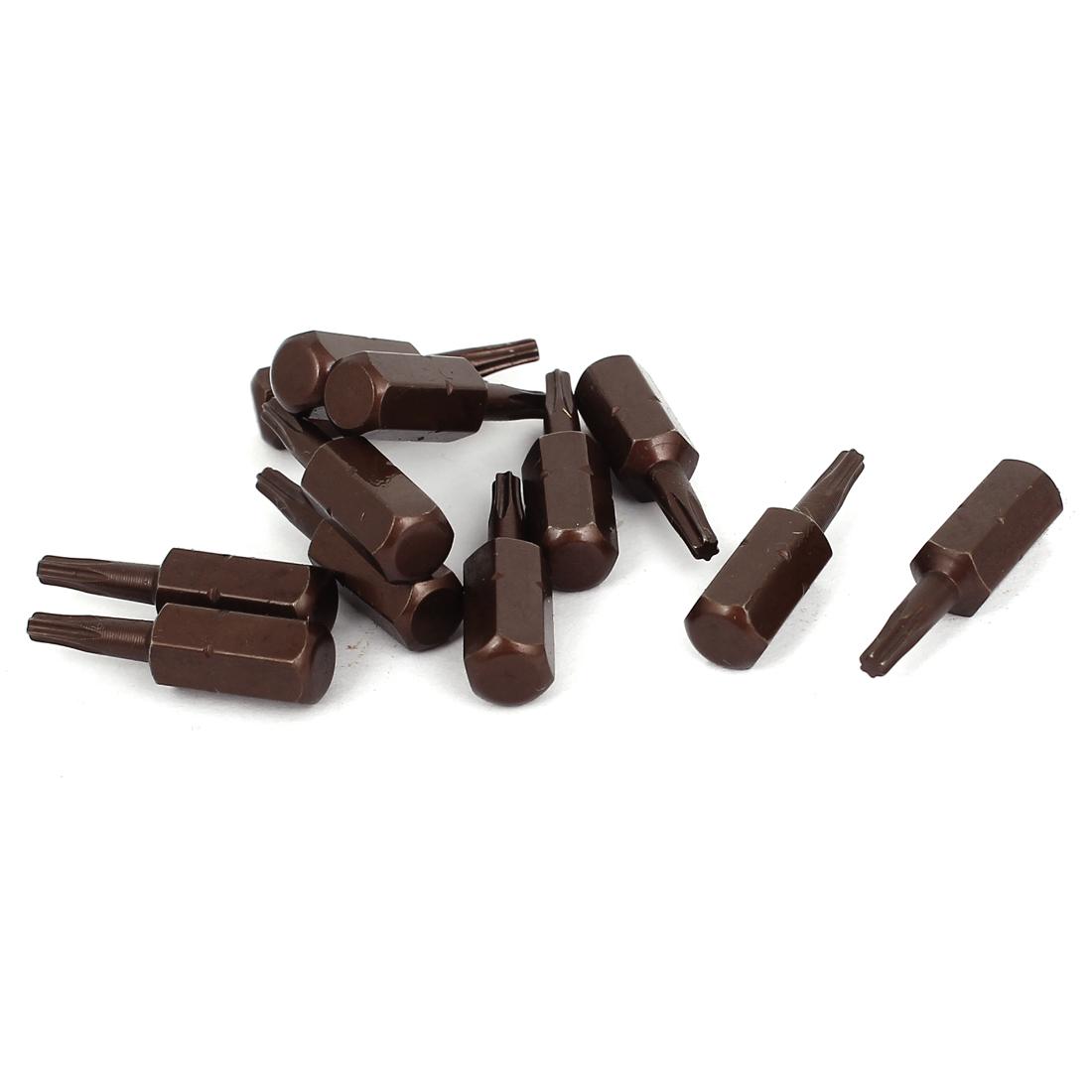 "25mm Length 1/4"" Hex Shank T9 Magnetic Tip Torx Screwdriver Bits 12 Pcs"