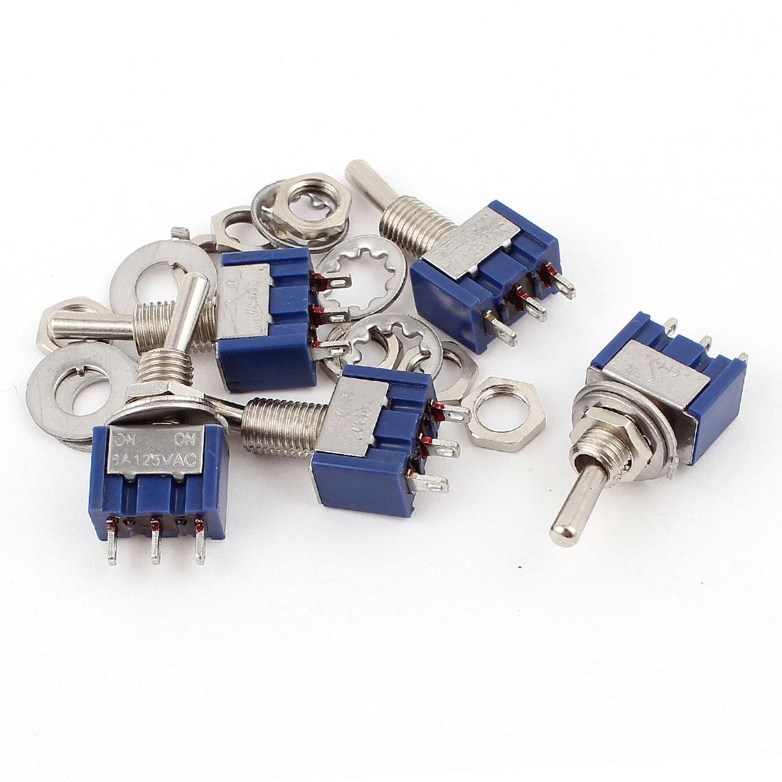 AC125V 6A 250V 3A 3 Pins SPDT On/On 2 Position Mini Toggle Switch 5 Pcs
